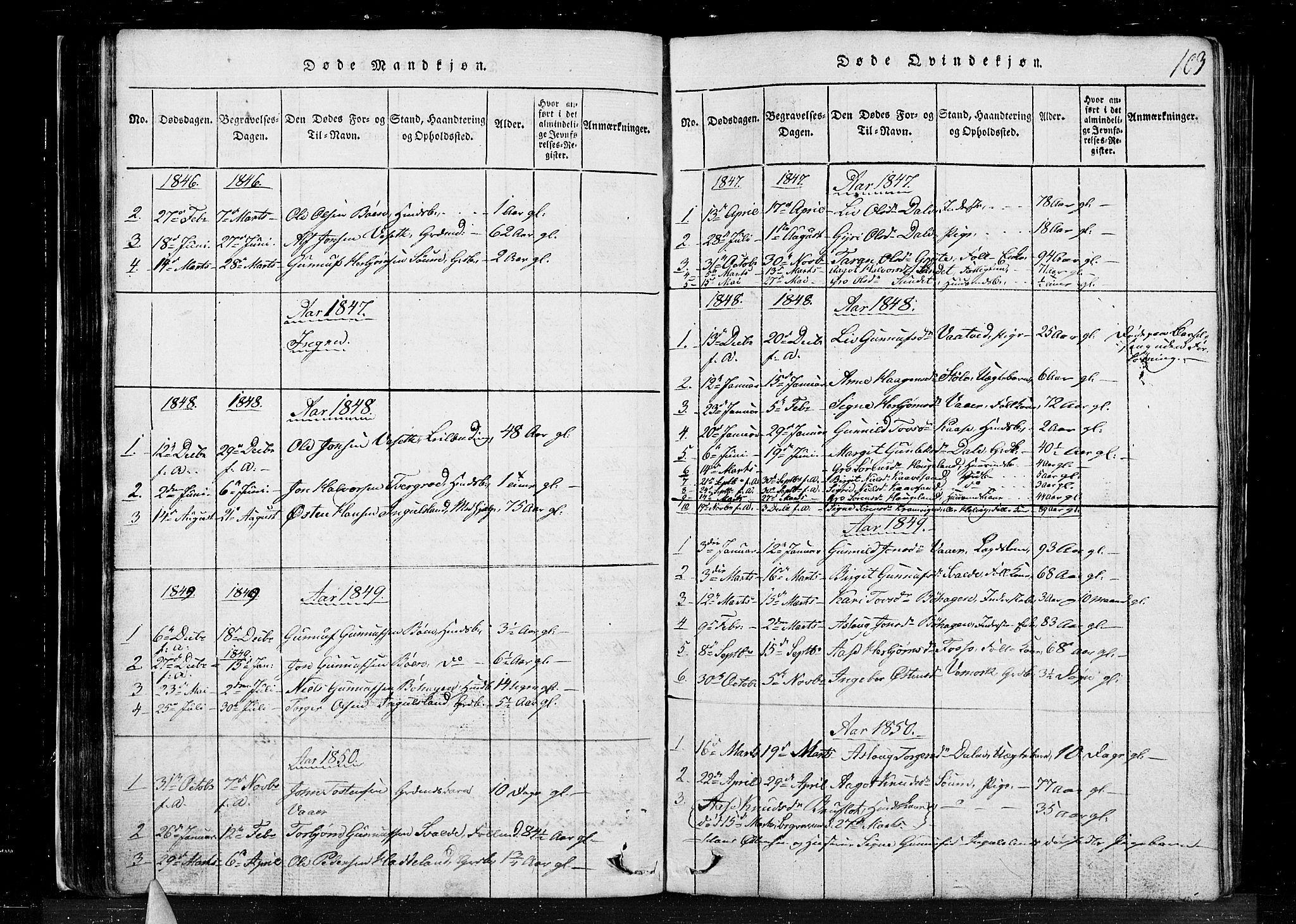 SAKO, Tinn kirkebøker, G/Gc/L0001: Klokkerbok nr. III 1, 1815-1879, s. 103