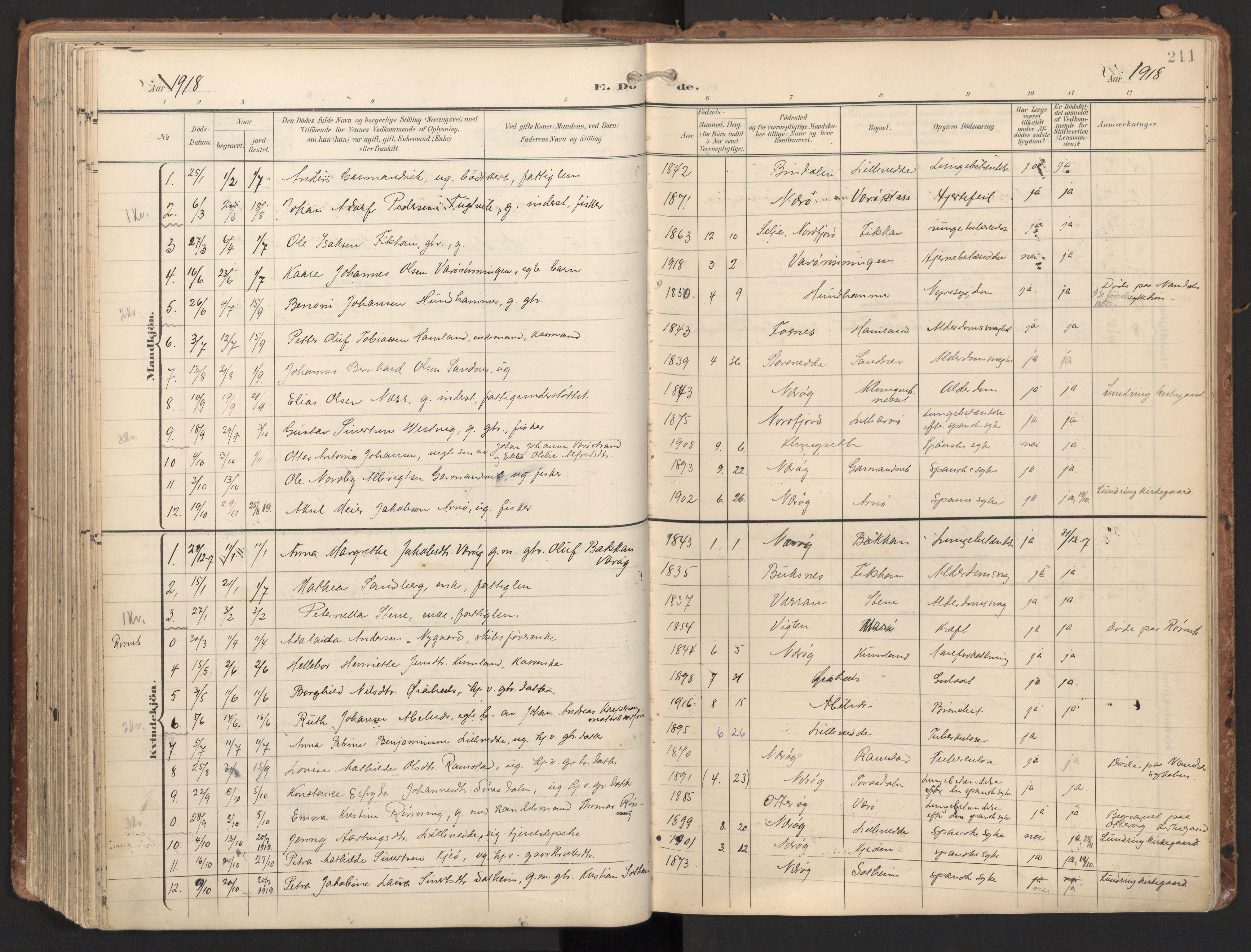 SAT, Ministerialprotokoller, klokkerbøker og fødselsregistre - Nord-Trøndelag, 784/L0677: Ministerialbok nr. 784A12, 1900-1920, s. 211