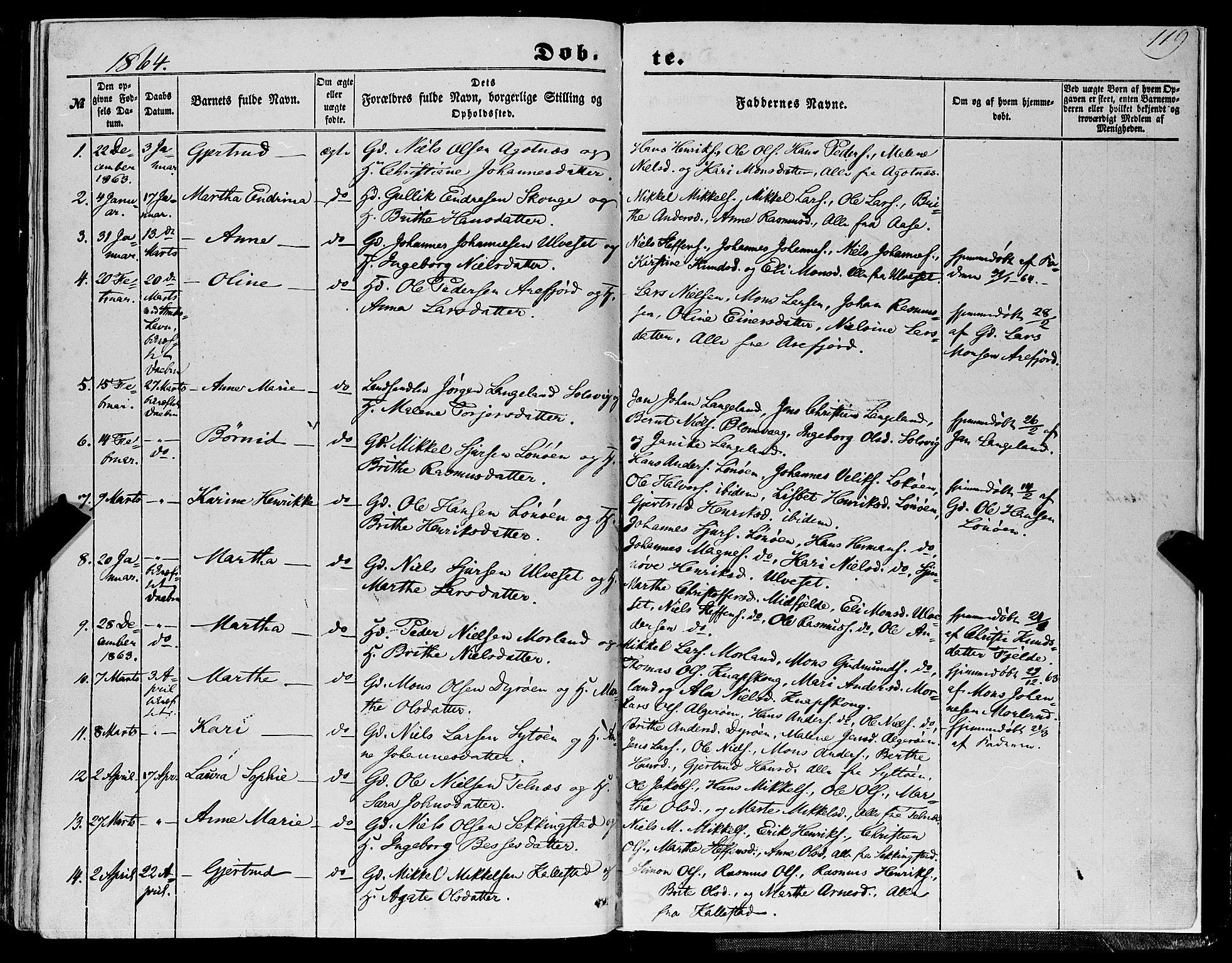 SAB, Fjell Sokneprestembete, H/Haa: Ministerialbok nr. A 2, 1847-1864, s. 119