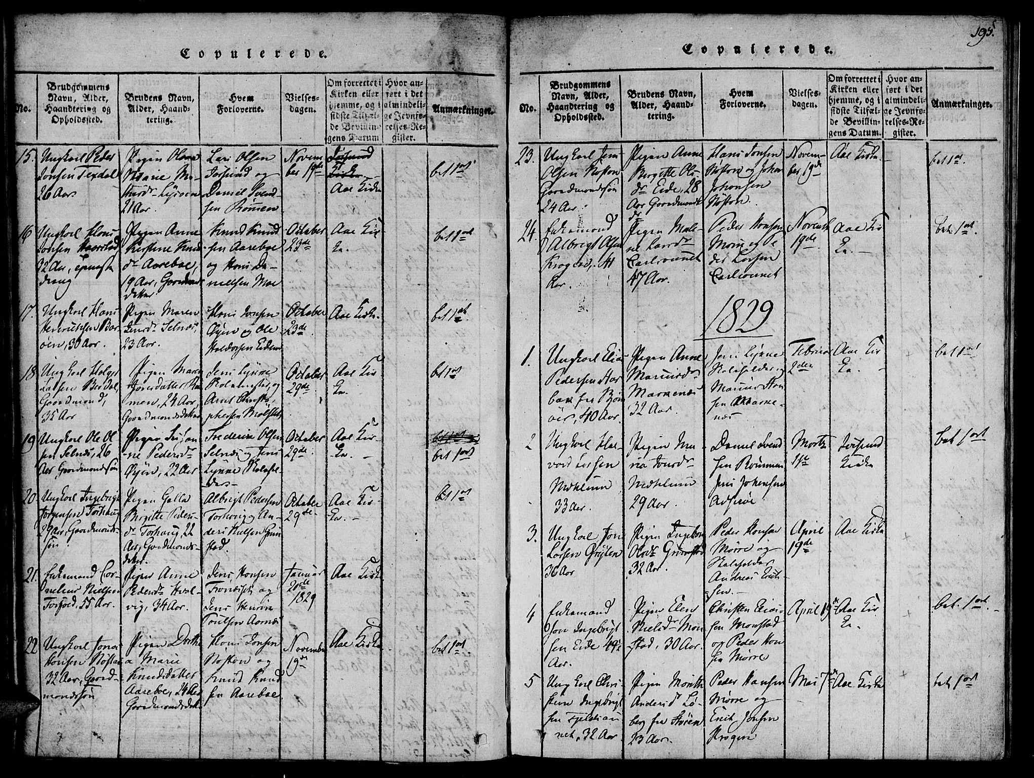 SAT, Ministerialprotokoller, klokkerbøker og fødselsregistre - Sør-Trøndelag, 655/L0675: Ministerialbok nr. 655A04, 1818-1830, s. 195