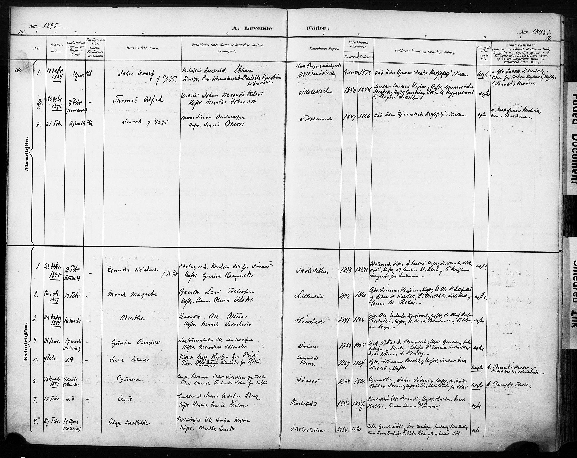 SAT, Ministerialprotokoller, klokkerbøker og fødselsregistre - Sør-Trøndelag, 616/L0411: Ministerialbok nr. 616A08, 1894-1906, s. 15-16