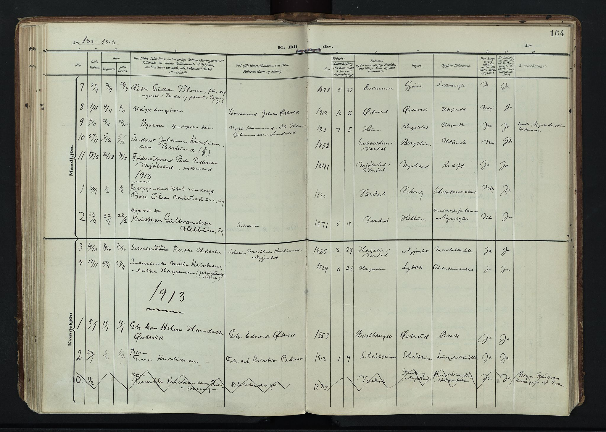 SAH, Vardal prestekontor, H/Ha/Haa/L0020: Ministerialbok nr. 20, 1907-1921, s. 164