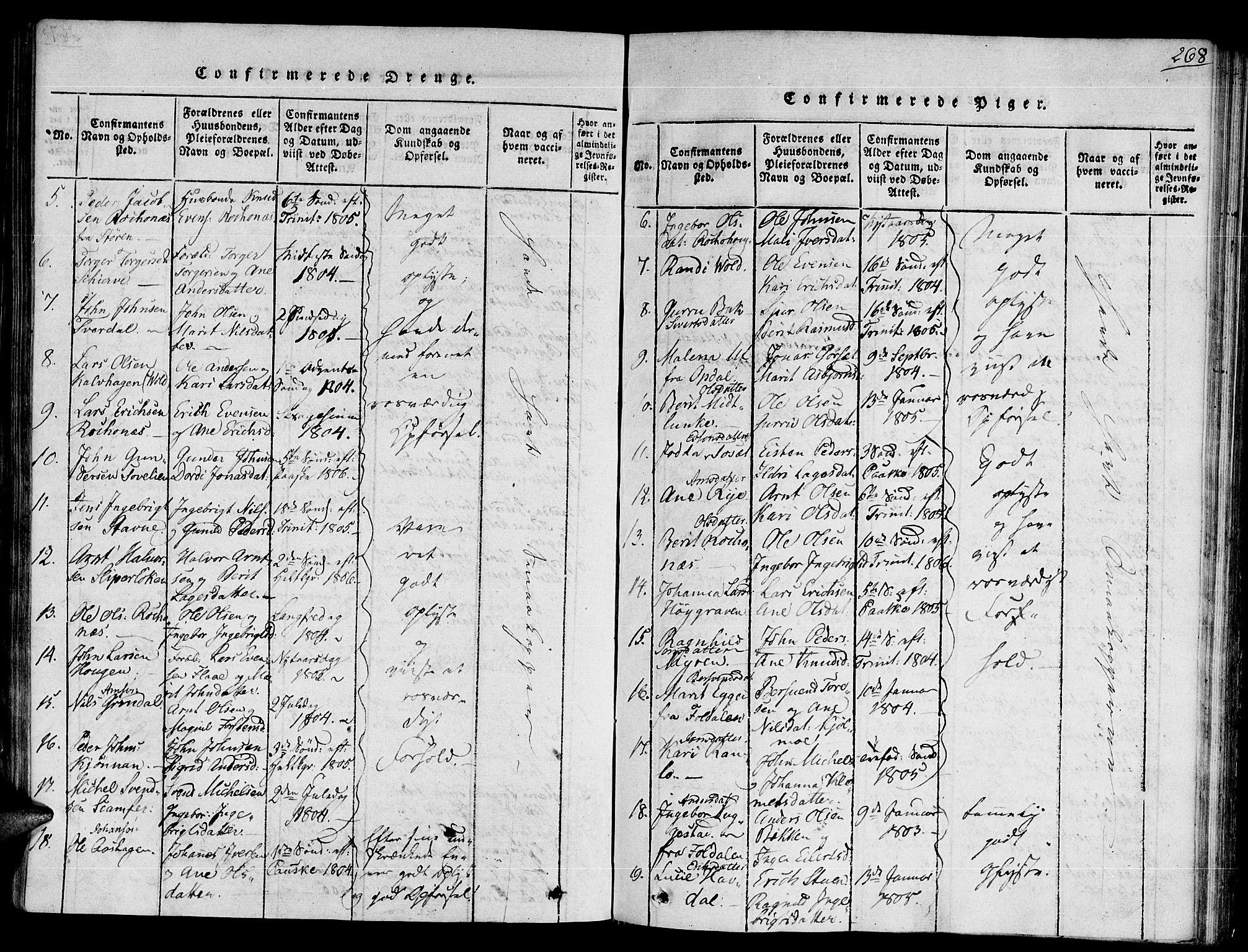 SAT, Ministerialprotokoller, klokkerbøker og fødselsregistre - Sør-Trøndelag, 672/L0854: Ministerialbok nr. 672A06 /2, 1816-1829, s. 268