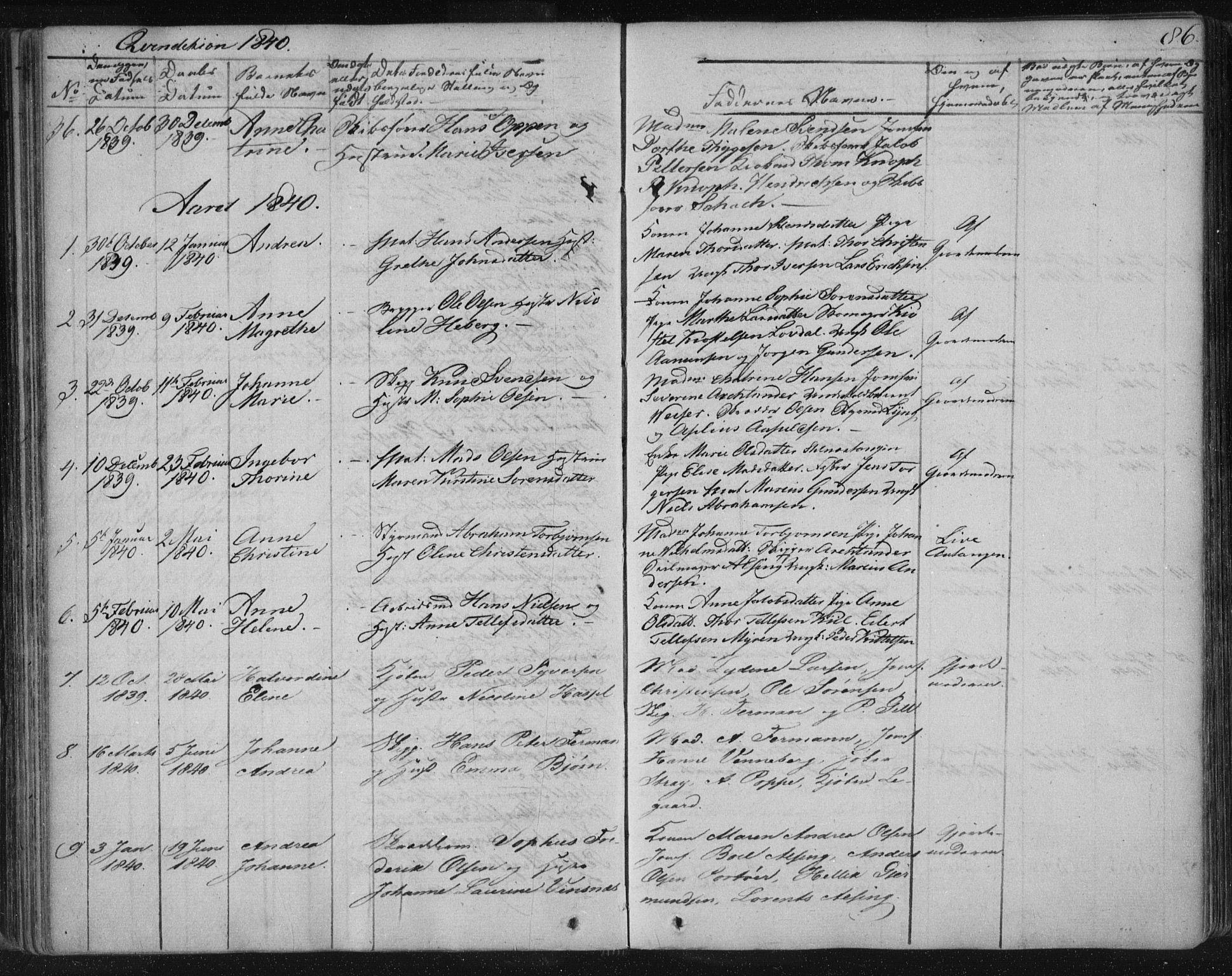 SAKO, Kragerø kirkebøker, F/Fa/L0005: Ministerialbok nr. 5, 1832-1847, s. 86