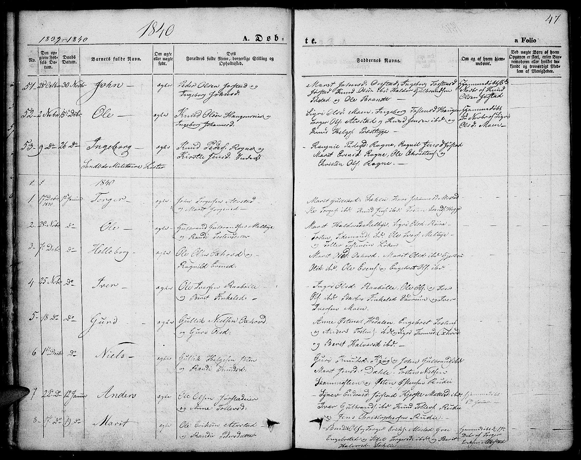 SAH, Slidre prestekontor, Ministerialbok nr. 4, 1831-1848, s. 47