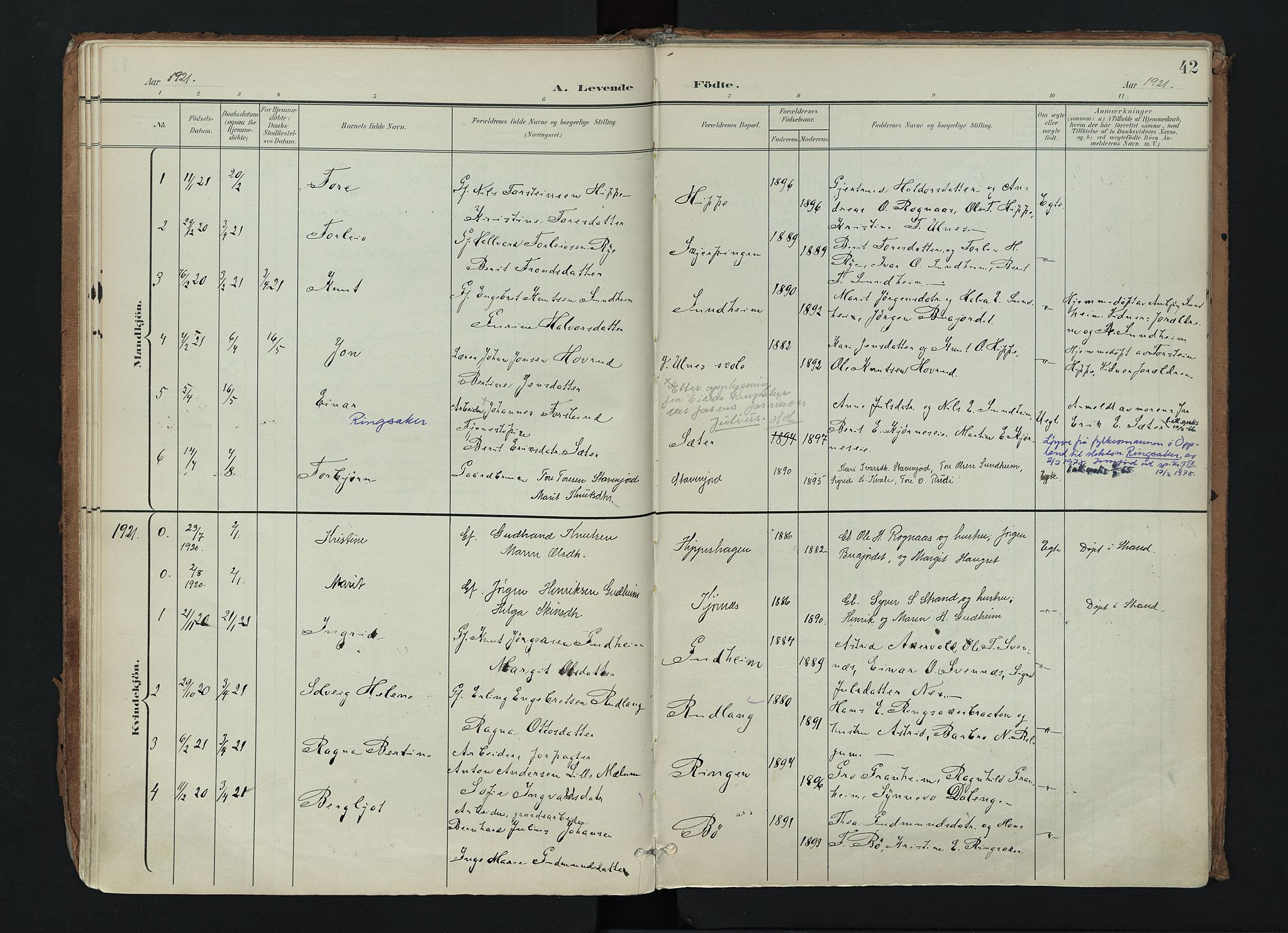 SAH, Nord-Aurdal prestekontor, Ministerialbok nr. 17, 1897-1926, s. 42