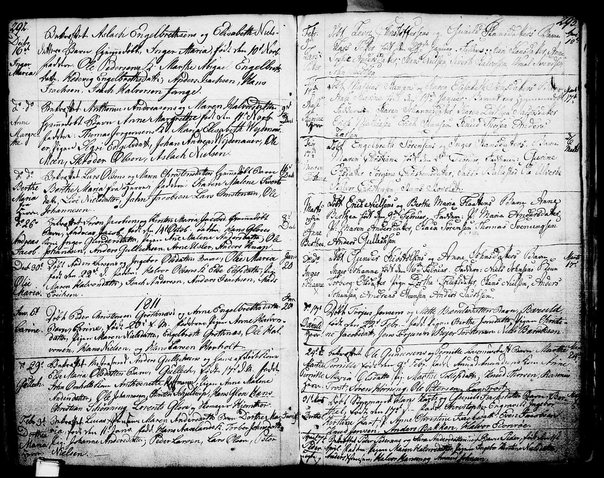 SAKO, Porsgrunn kirkebøker , F/Fa/L0002: Ministerialbok nr. 2, 1764-1814, s. 292-293