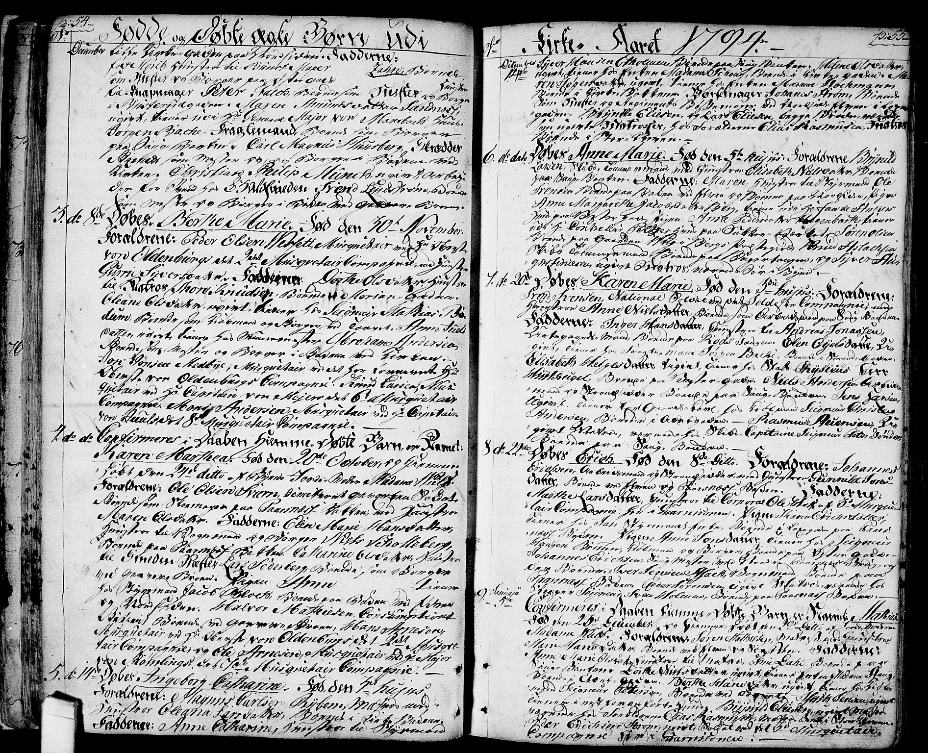 SAO, Halden prestekontor Kirkebøker, F/Fa/L0002: Ministerialbok nr. I 2, 1792-1812, s. 54-55