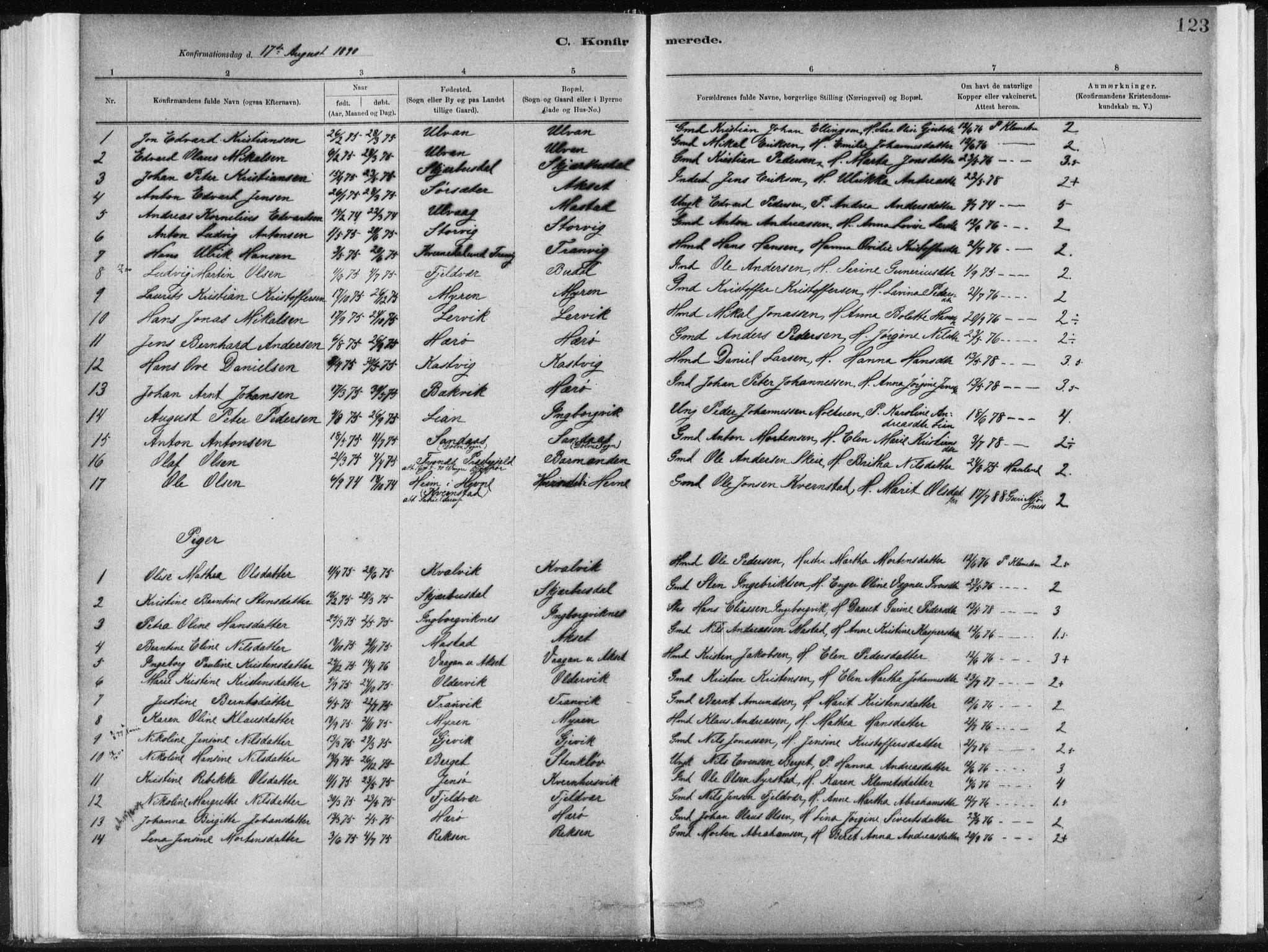 SAT, Ministerialprotokoller, klokkerbøker og fødselsregistre - Sør-Trøndelag, 637/L0558: Ministerialbok nr. 637A01, 1882-1899, s. 123
