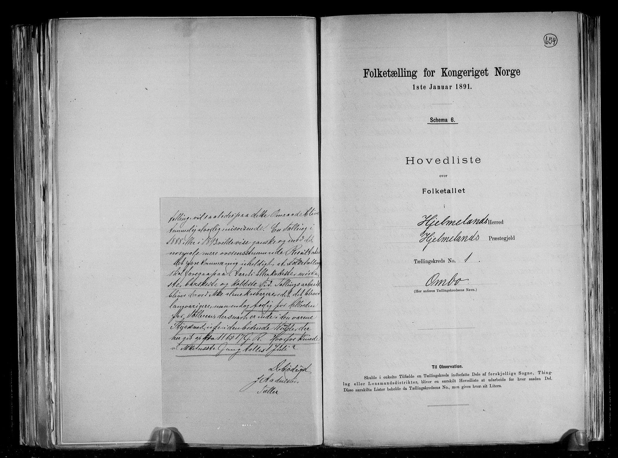 RA, Folketelling 1891 for 1133 Hjelmeland herred, 1891, s. 5