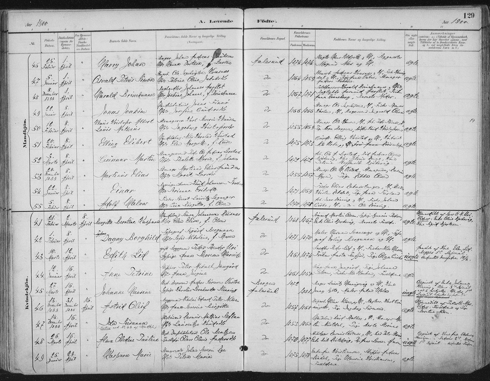SAT, Ministerialprotokoller, klokkerbøker og fødselsregistre - Møre og Romsdal, 529/L0456: Ministerialbok nr. 529A06, 1894-1906, s. 129