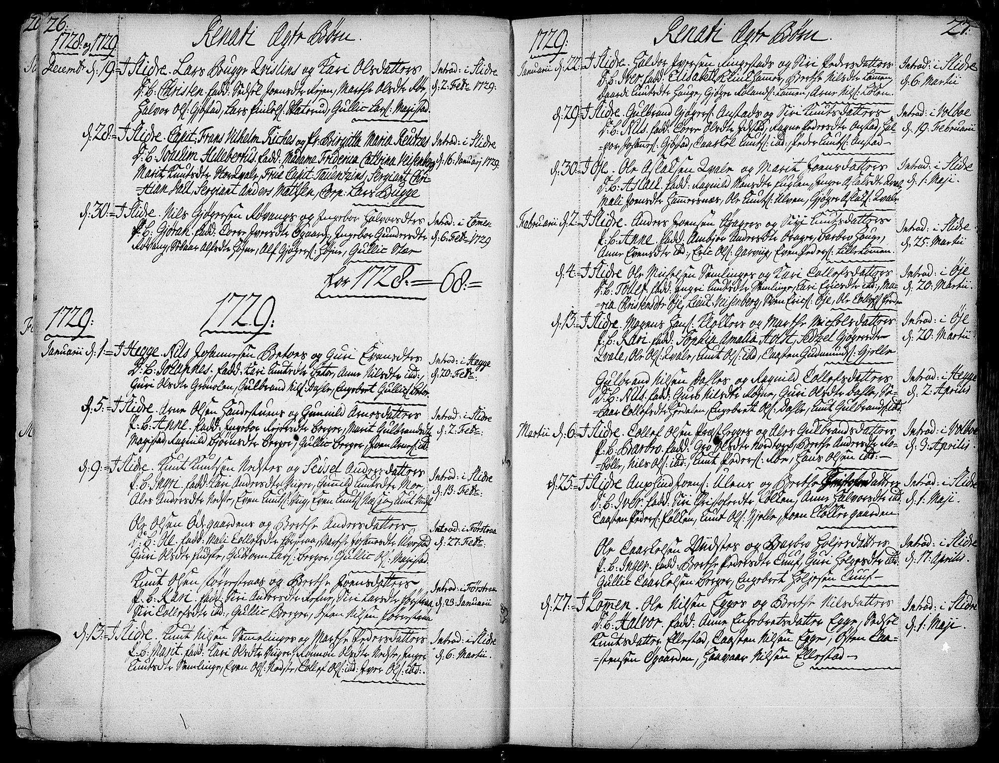 SAH, Slidre prestekontor, Ministerialbok nr. 1, 1724-1814, s. 26-27