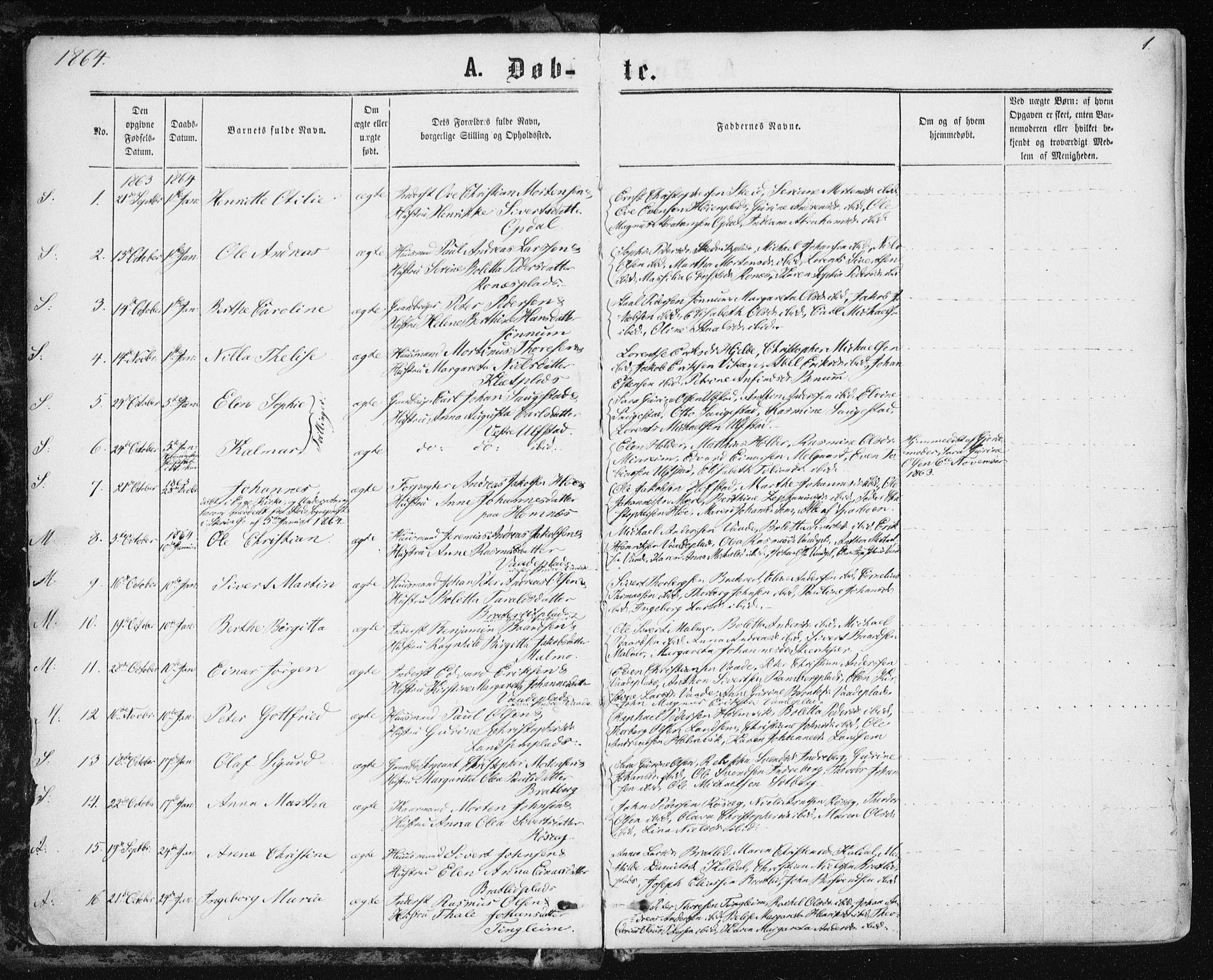 SAT, Ministerialprotokoller, klokkerbøker og fødselsregistre - Nord-Trøndelag, 741/L0394: Ministerialbok nr. 741A08, 1864-1877, s. 1