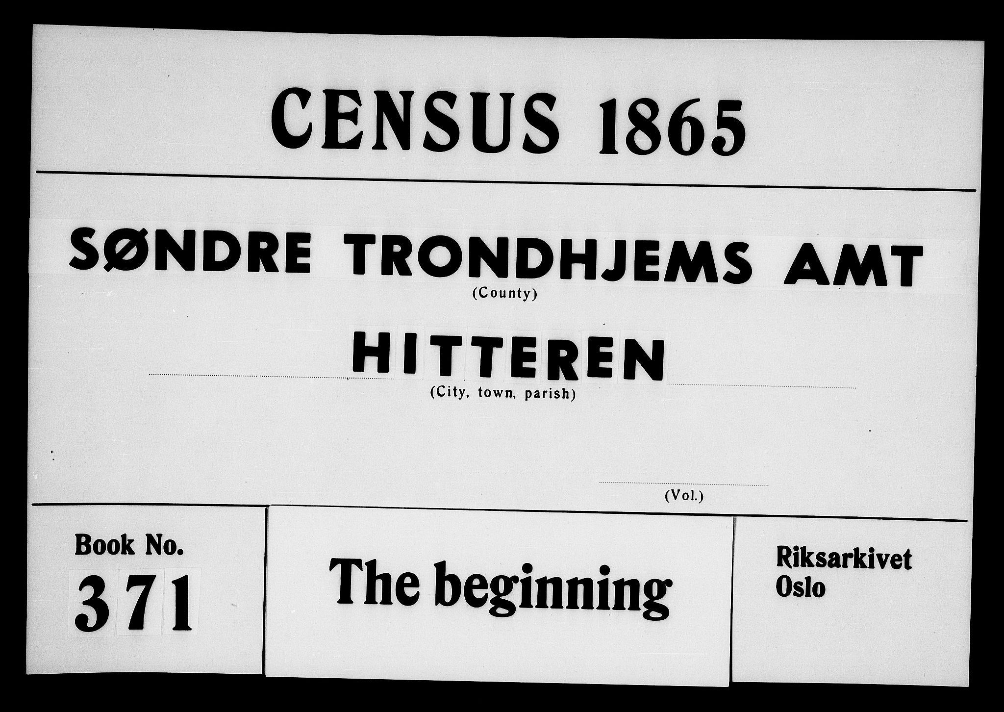 RA, Folketelling 1865 for 1617P Hitra prestegjeld, 1865, s. 1