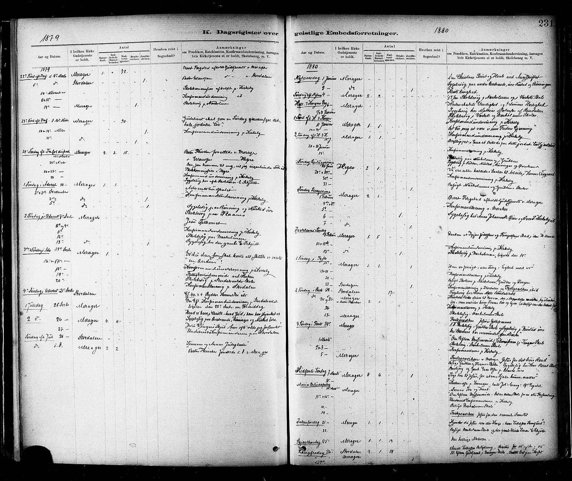 SAT, Ministerialprotokoller, klokkerbøker og fødselsregistre - Nord-Trøndelag, 706/L0047: Ministerialbok nr. 706A03, 1878-1892, s. 231