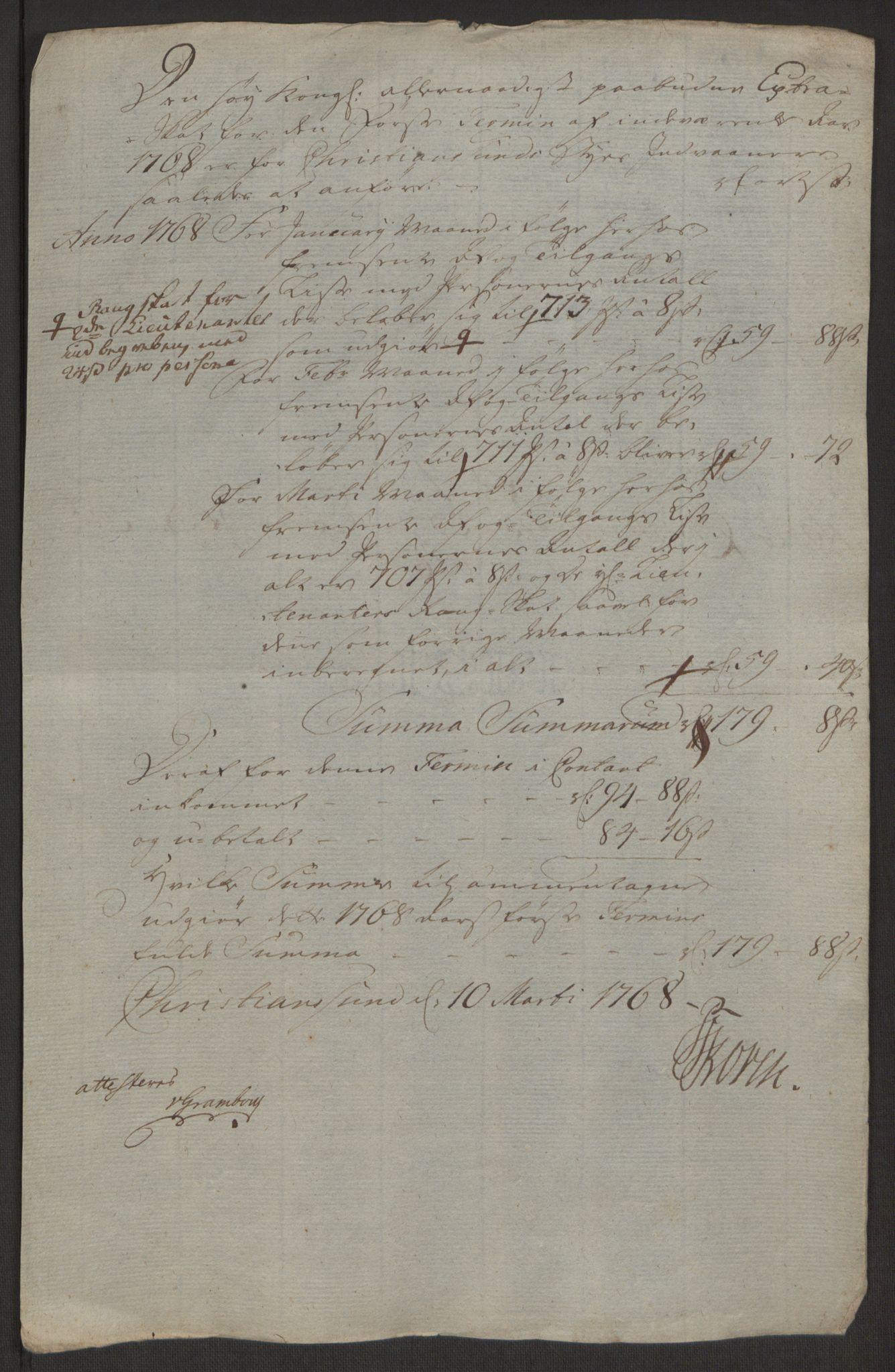RA, Rentekammeret inntil 1814, Reviderte regnskaper, Byregnskaper, R/Rr/L0495: [R1] Kontribusjonsregnskap, 1762-1772, s. 181