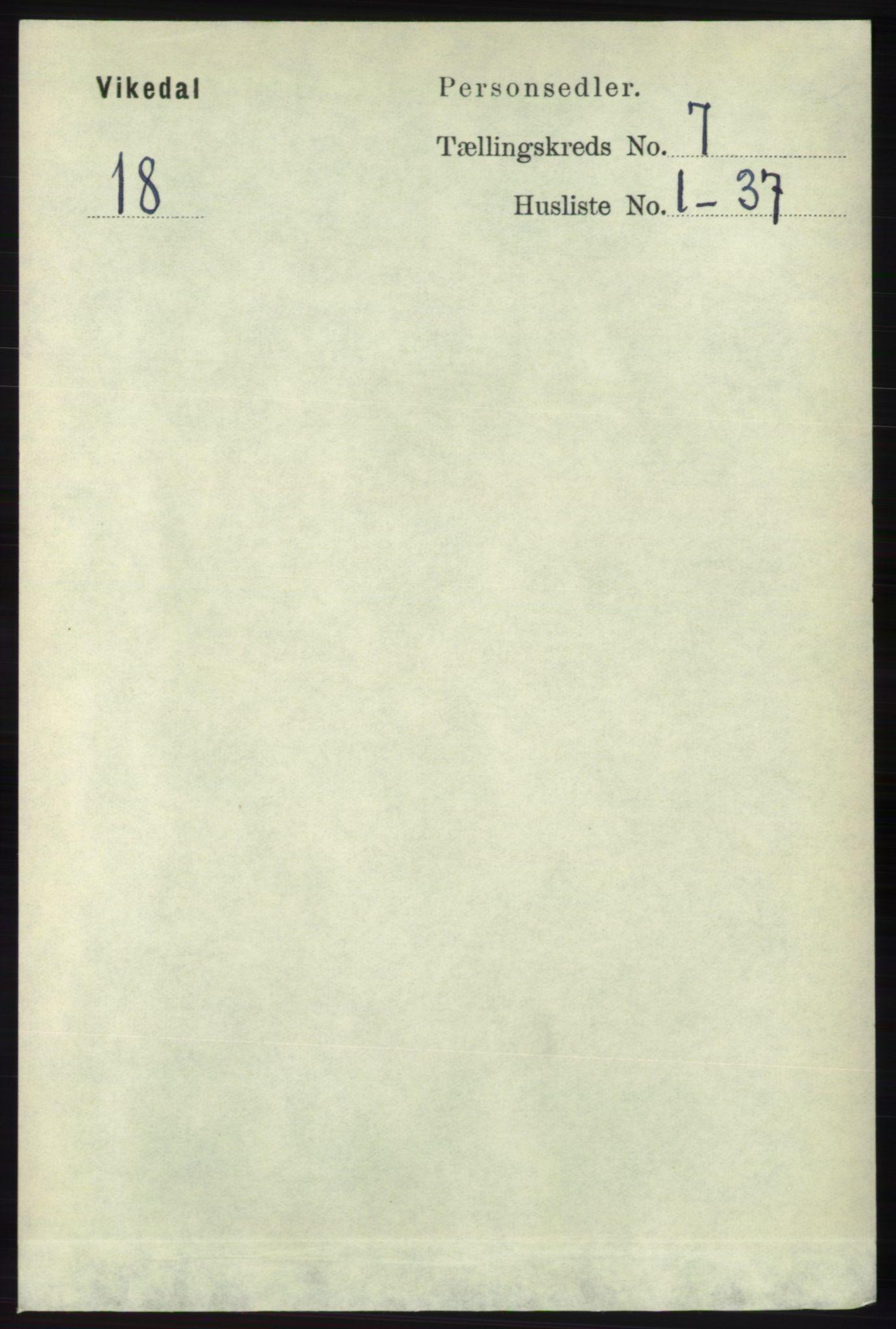 RA, Folketelling 1891 for 1157 Vikedal herred, 1891, s. 2033