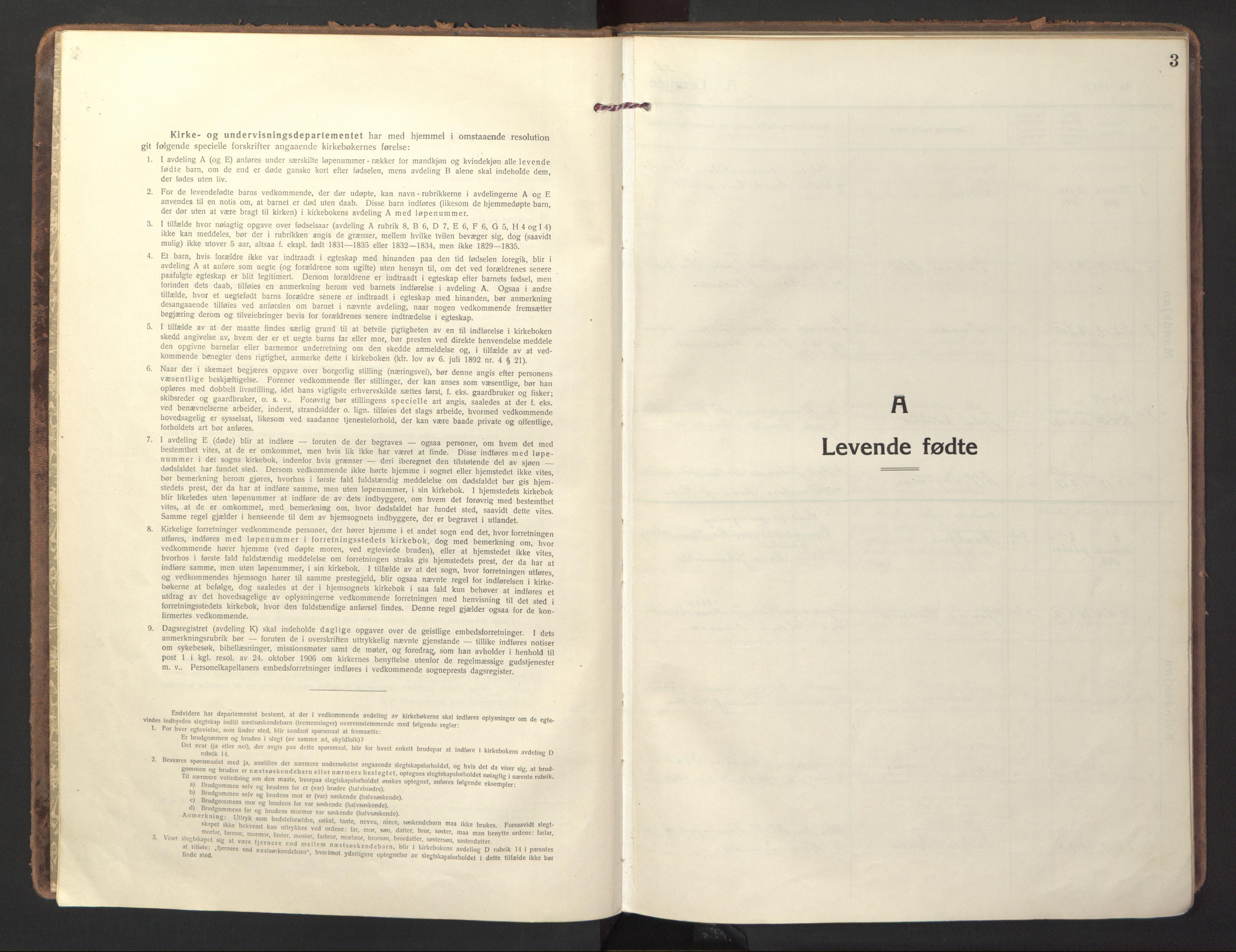 SAT, Ministerialprotokoller, klokkerbøker og fødselsregistre - Sør-Trøndelag, 618/L0449: Ministerialbok nr. 618A12, 1917-1924, s. 3