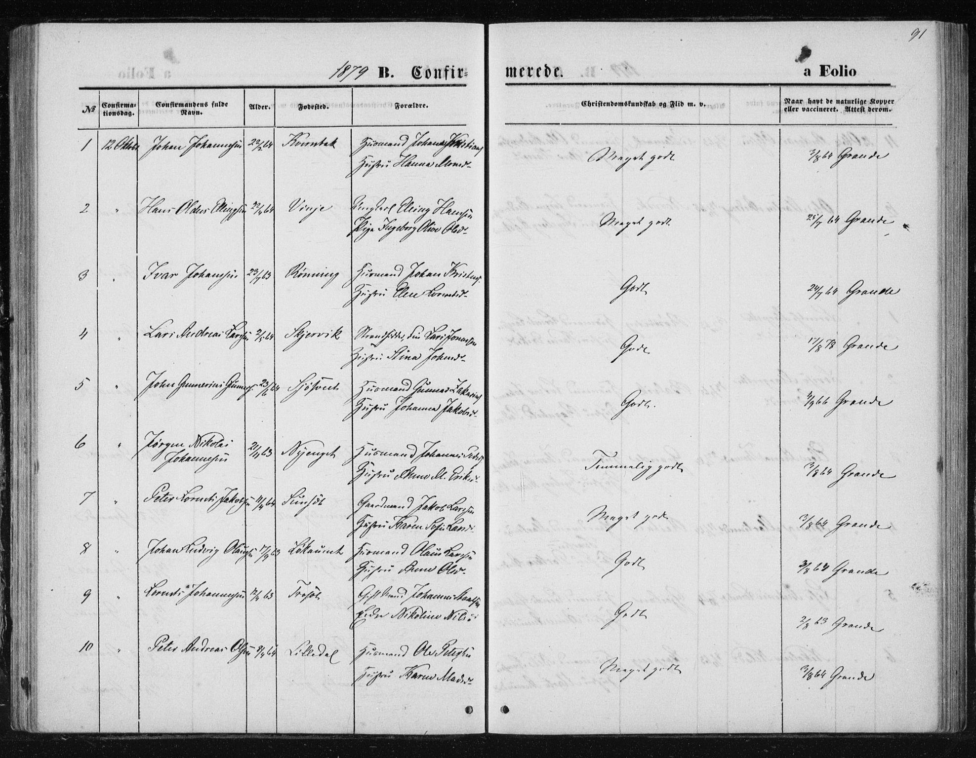 SAT, Ministerialprotokoller, klokkerbøker og fødselsregistre - Nord-Trøndelag, 733/L0324: Ministerialbok nr. 733A03, 1870-1883, s. 91