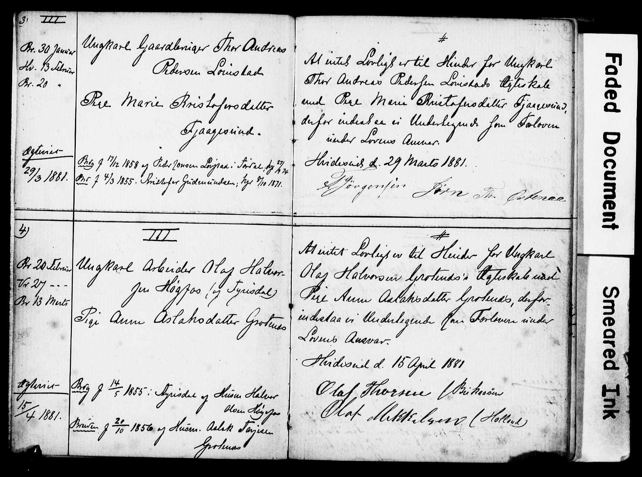 SAST, Strand sokneprestkontor, I/Ie/L0001: Lysningsprotokoll nr. 1, 1881-1897