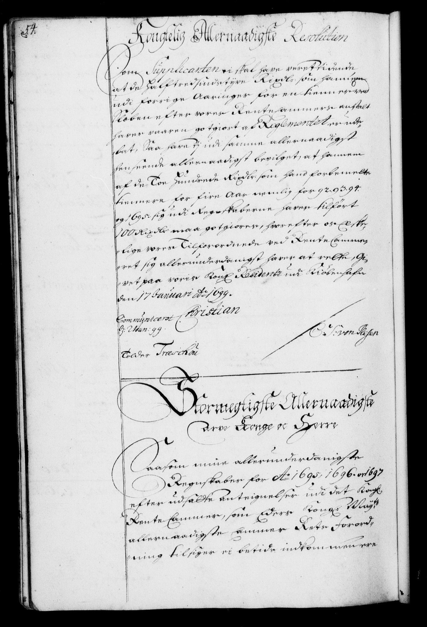 RA, Rentekammeret, Kammerkanselliet, G/Gf/Gfa/L0001: Resolusjonsprotokoll med register (merket RK 52.1), 1695-1706, s. 54