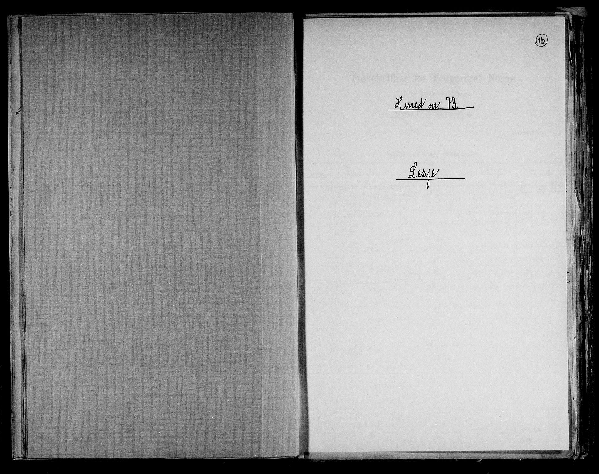RA, Folketelling 1891 for 0512 Lesja herred, 1891, s. 1