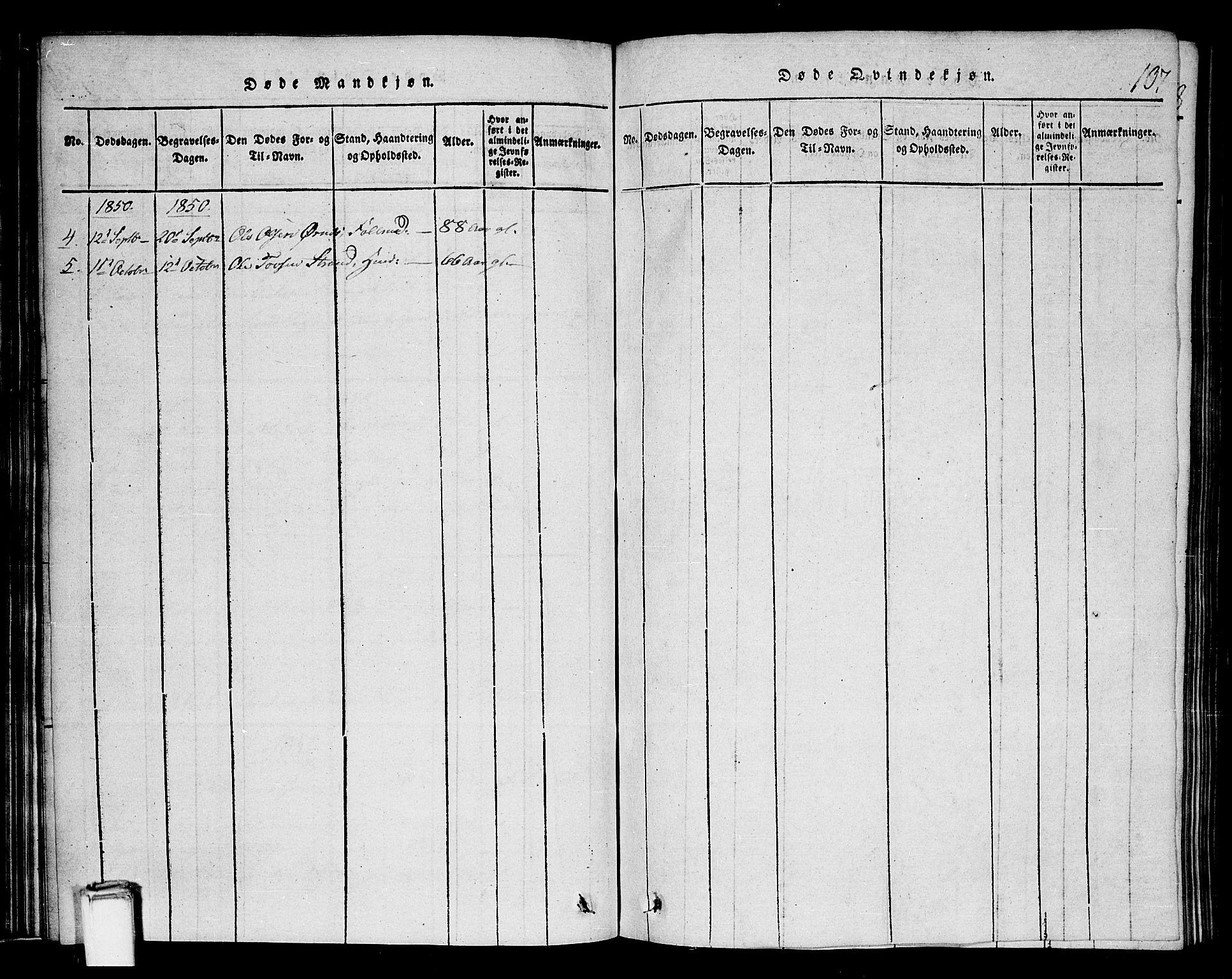 SAKO, Tinn kirkebøker, G/Gb/L0001: Klokkerbok nr. II 1 /1, 1815-1850, s. 107