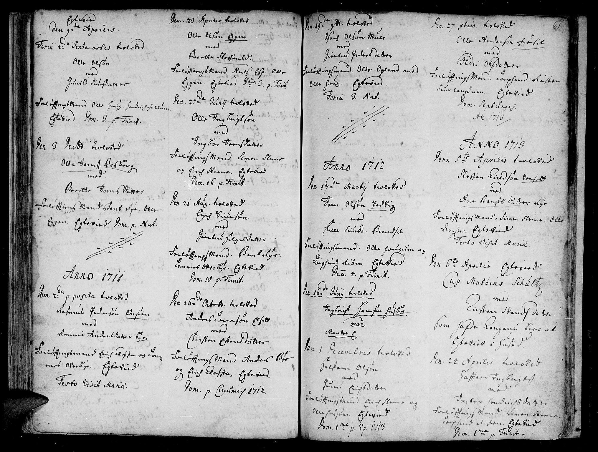 SAT, Ministerialprotokoller, klokkerbøker og fødselsregistre - Sør-Trøndelag, 612/L0368: Ministerialbok nr. 612A02, 1702-1753, s. 61