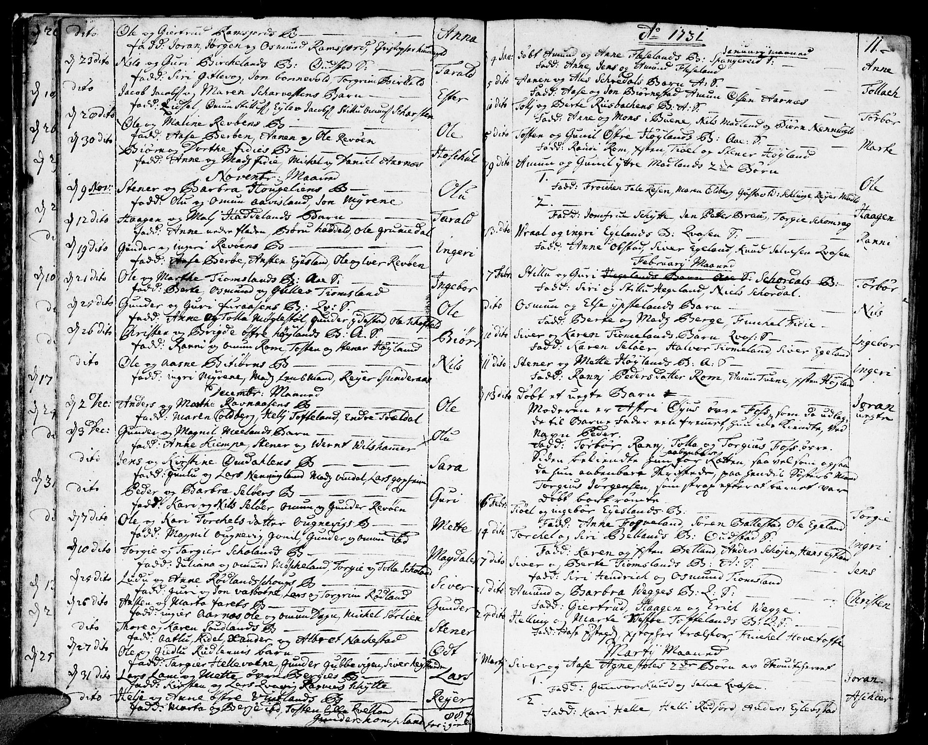 SAK, Lyngdal sokneprestkontor, F/Fa/Fac/L0001: Ministerialbok nr. A 1, 1727-1779, s. 11