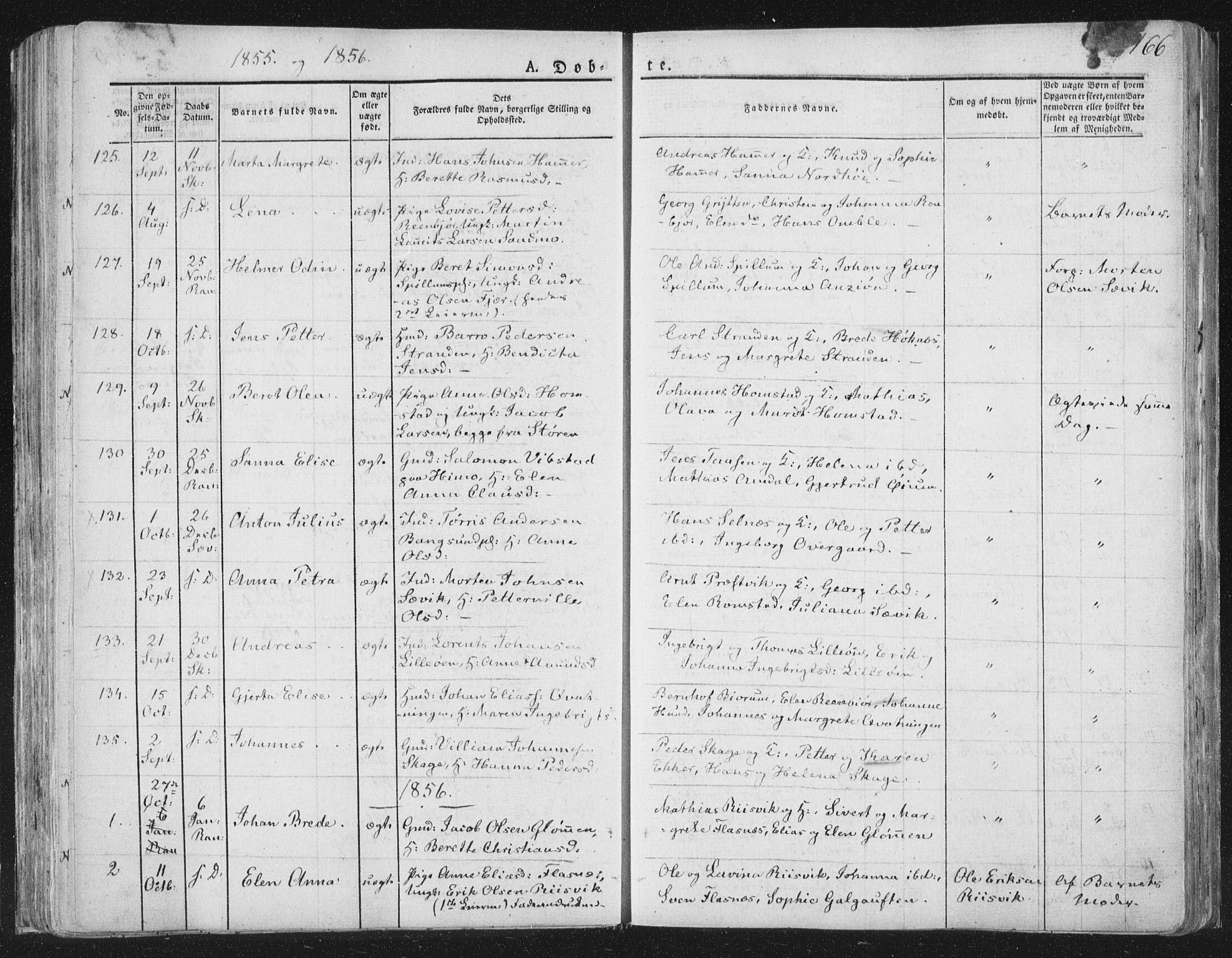 SAT, Ministerialprotokoller, klokkerbøker og fødselsregistre - Nord-Trøndelag, 764/L0551: Ministerialbok nr. 764A07a, 1824-1864, s. 166