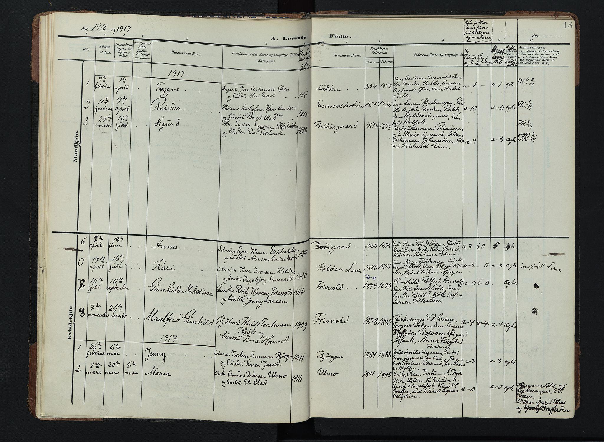 SAH, Lom prestekontor, K/L0011: Ministerialbok nr. 11, 1904-1928, s. 18