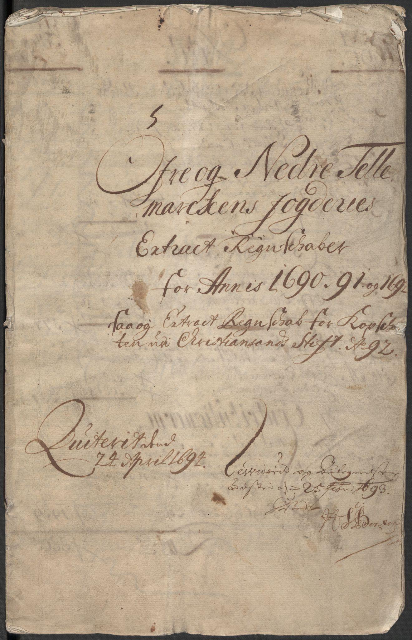 RA, Rentekammeret inntil 1814, Reviderte regnskaper, Fogderegnskap, R35/L2089: Fogderegnskap Øvre og Nedre Telemark, 1690-1692, s. 4