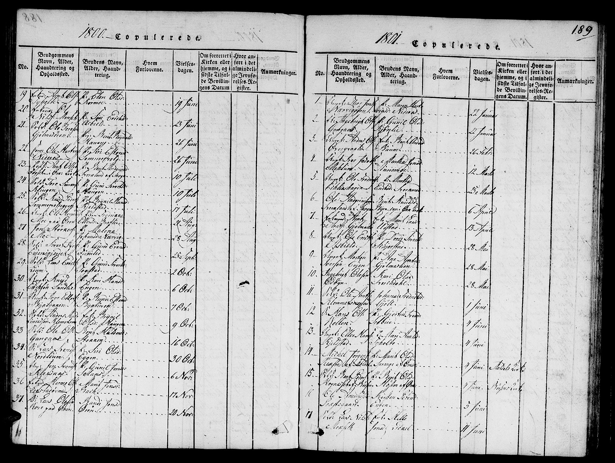 SAT, Ministerialprotokoller, klokkerbøker og fødselsregistre - Sør-Trøndelag, 668/L0803: Ministerialbok nr. 668A03, 1800-1826, s. 189