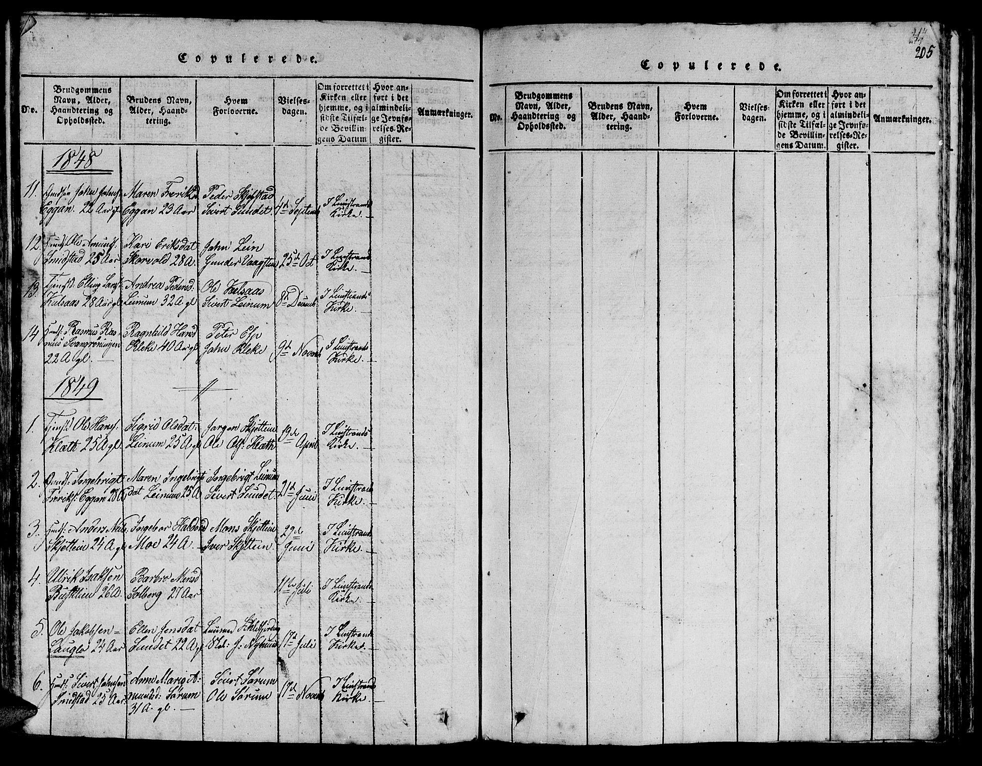 SAT, Ministerialprotokoller, klokkerbøker og fødselsregistre - Sør-Trøndelag, 613/L0393: Klokkerbok nr. 613C01, 1816-1886, s. 205