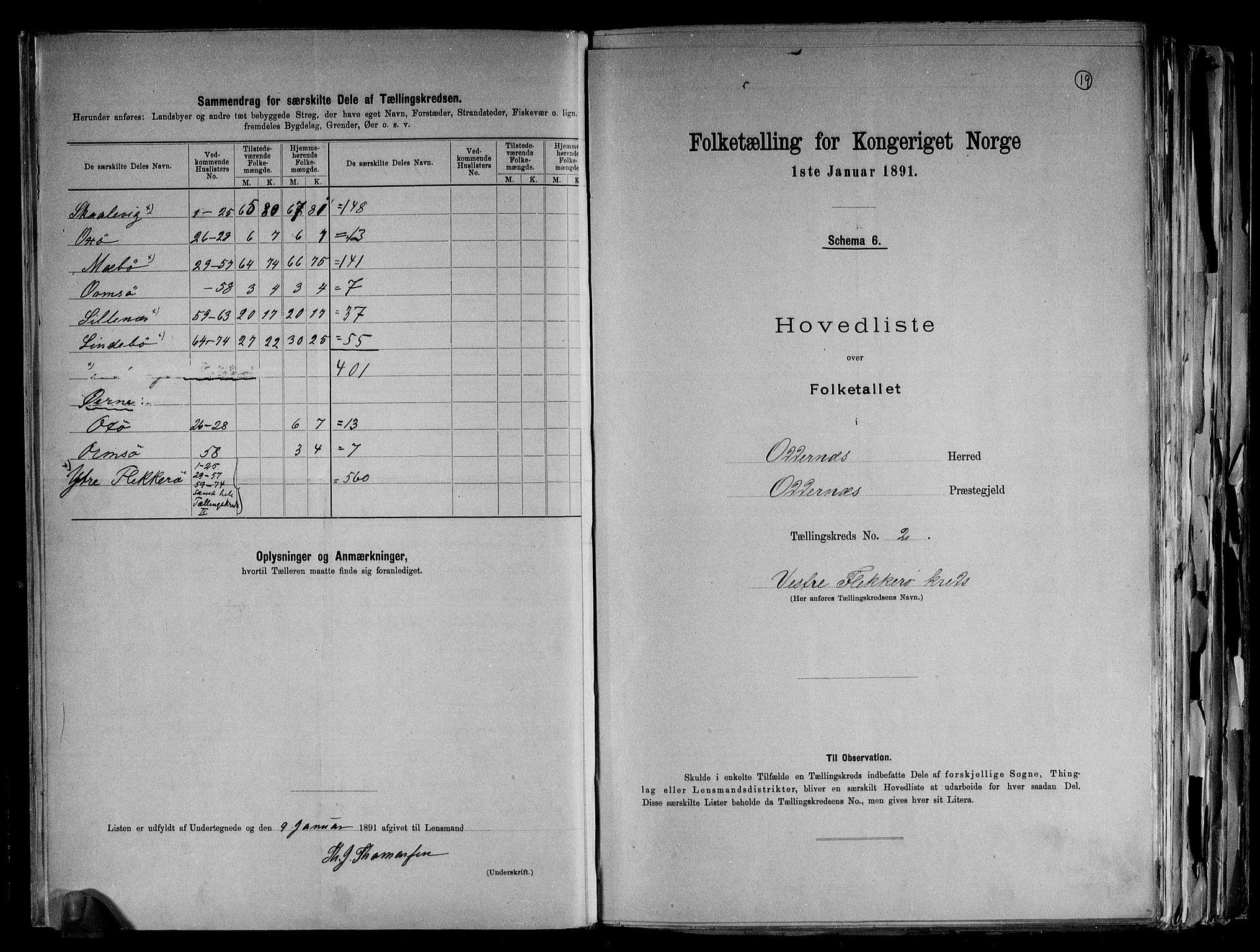 RA, Folketelling 1891 for 1012 Oddernes herred, 1891, s. 7