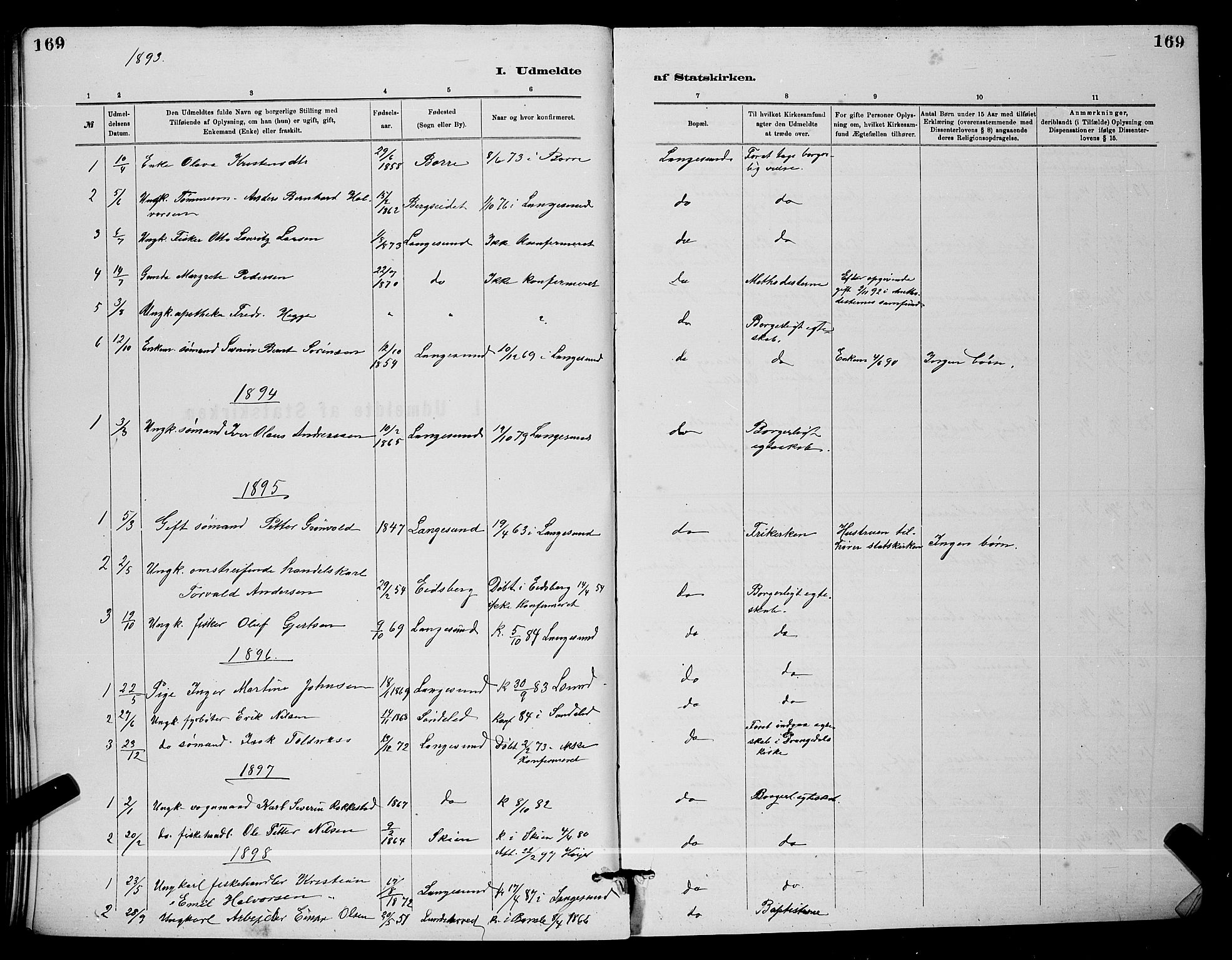 SAKO, Langesund kirkebøker, G/Ga/L0005: Klokkerbok nr. 5, 1884-1898, s. 169