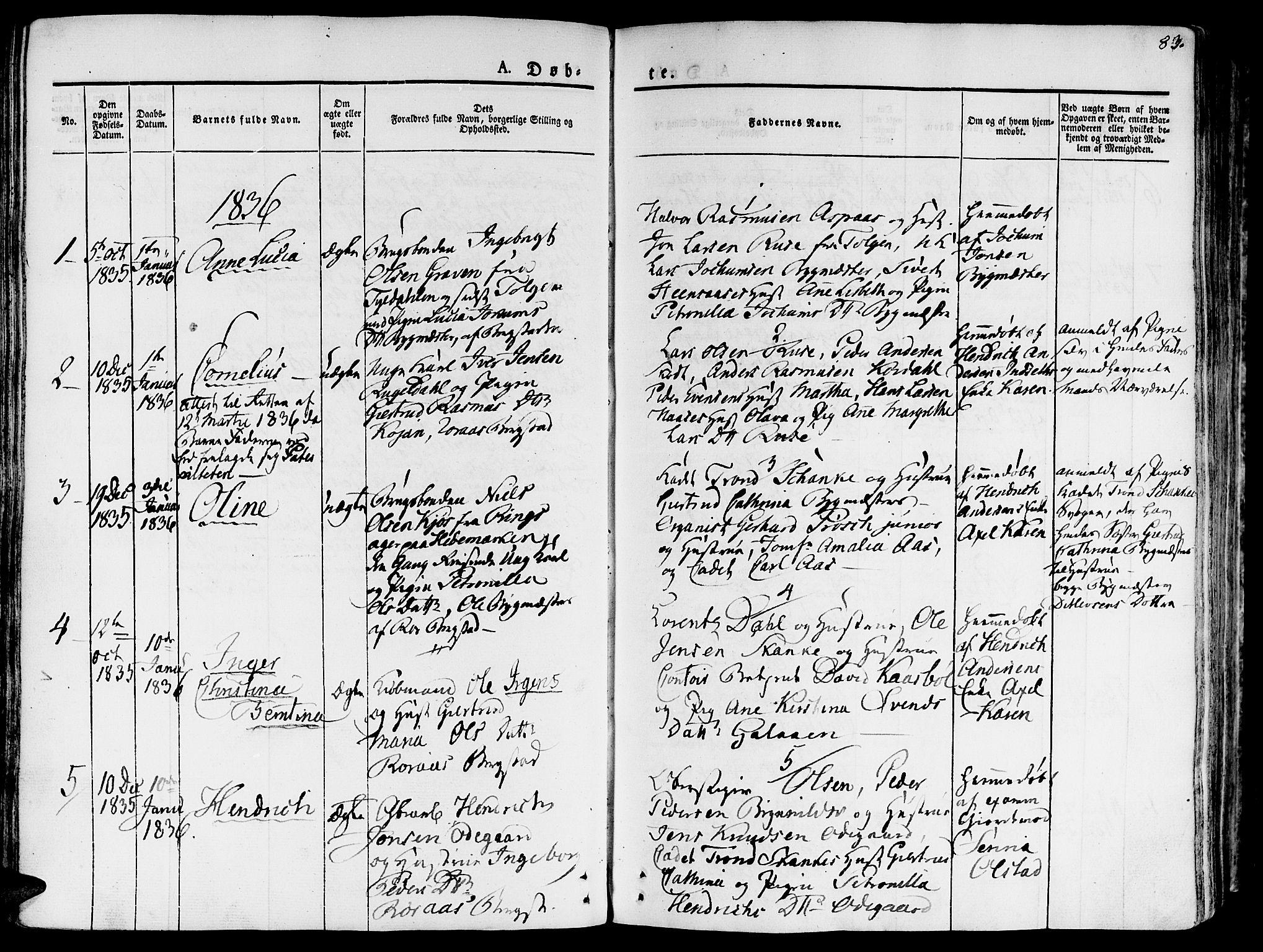 SAT, Ministerialprotokoller, klokkerbøker og fødselsregistre - Sør-Trøndelag, 681/L0930: Ministerialbok nr. 681A08, 1829-1844, s. 83