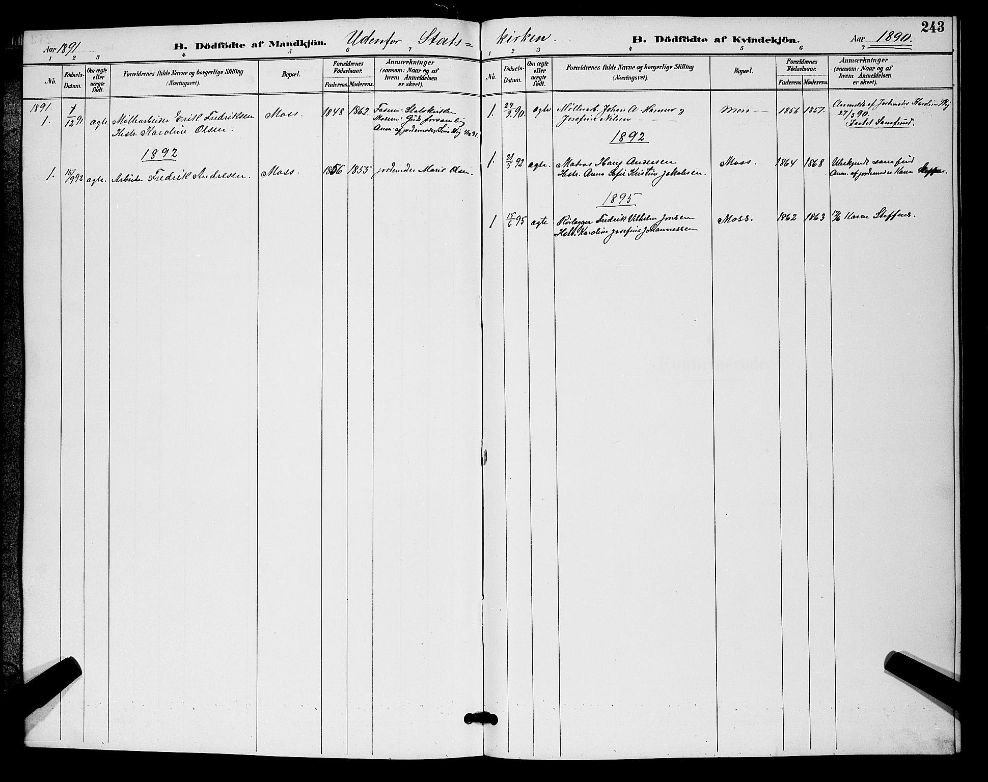 SAO, Moss prestekontor Kirkebøker, G/Ga/L0006: Klokkerbok nr. I 6, 1889-1900, s. 243