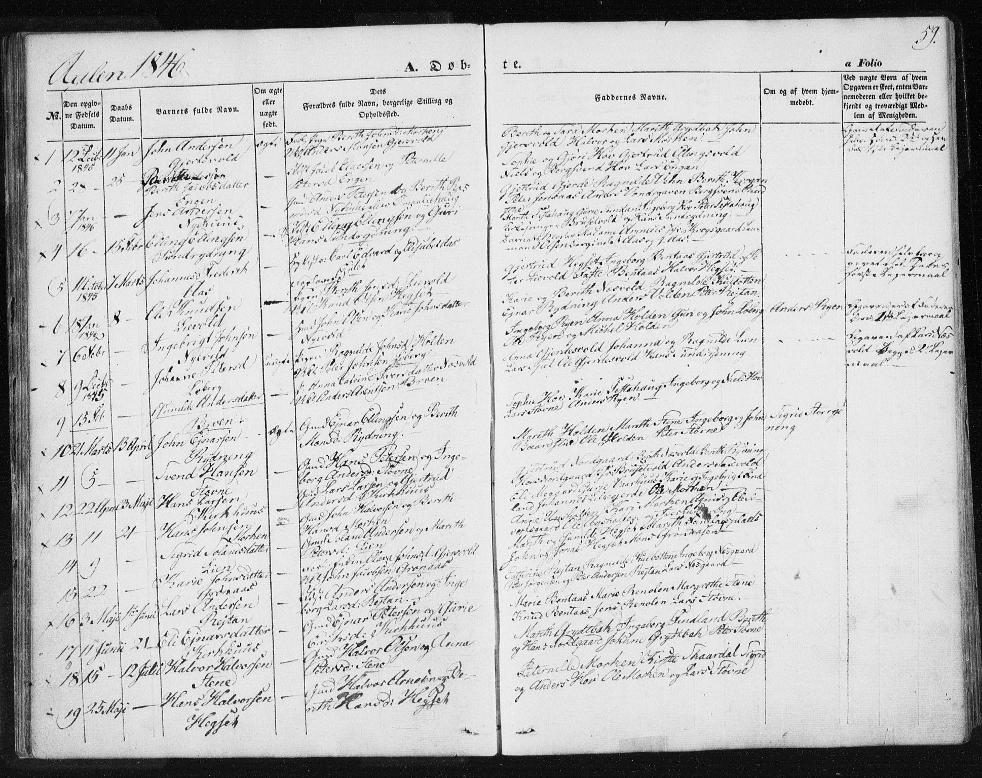 SAT, Ministerialprotokoller, klokkerbøker og fødselsregistre - Sør-Trøndelag, 685/L0965: Ministerialbok nr. 685A06 /3, 1846-1859, s. 59