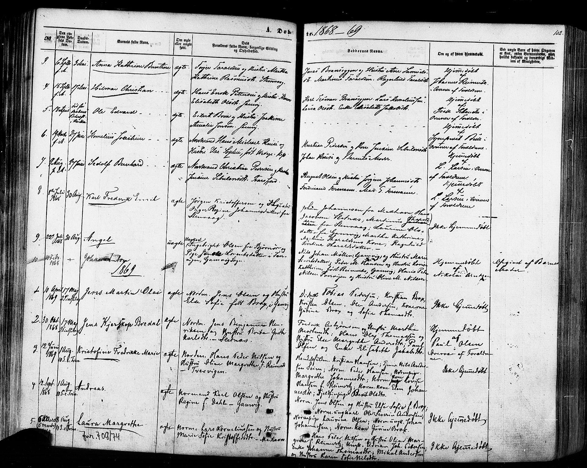 SATØ, Tana sokneprestkontor, H/Ha/L0002kirke: Ministerialbok nr. 2 /2, 1862-1877, s. 102