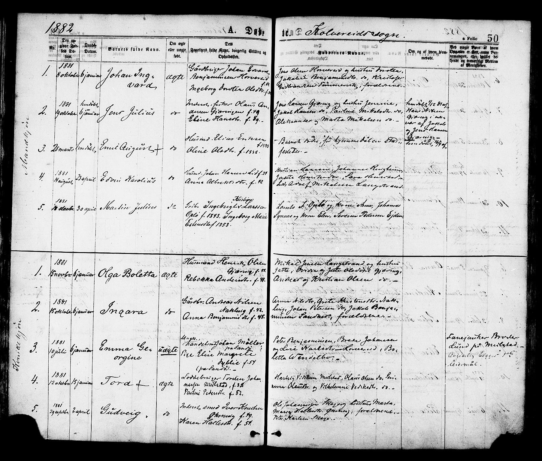 SAT, Ministerialprotokoller, klokkerbøker og fødselsregistre - Nord-Trøndelag, 780/L0642: Ministerialbok nr. 780A07 /1, 1874-1885, s. 50