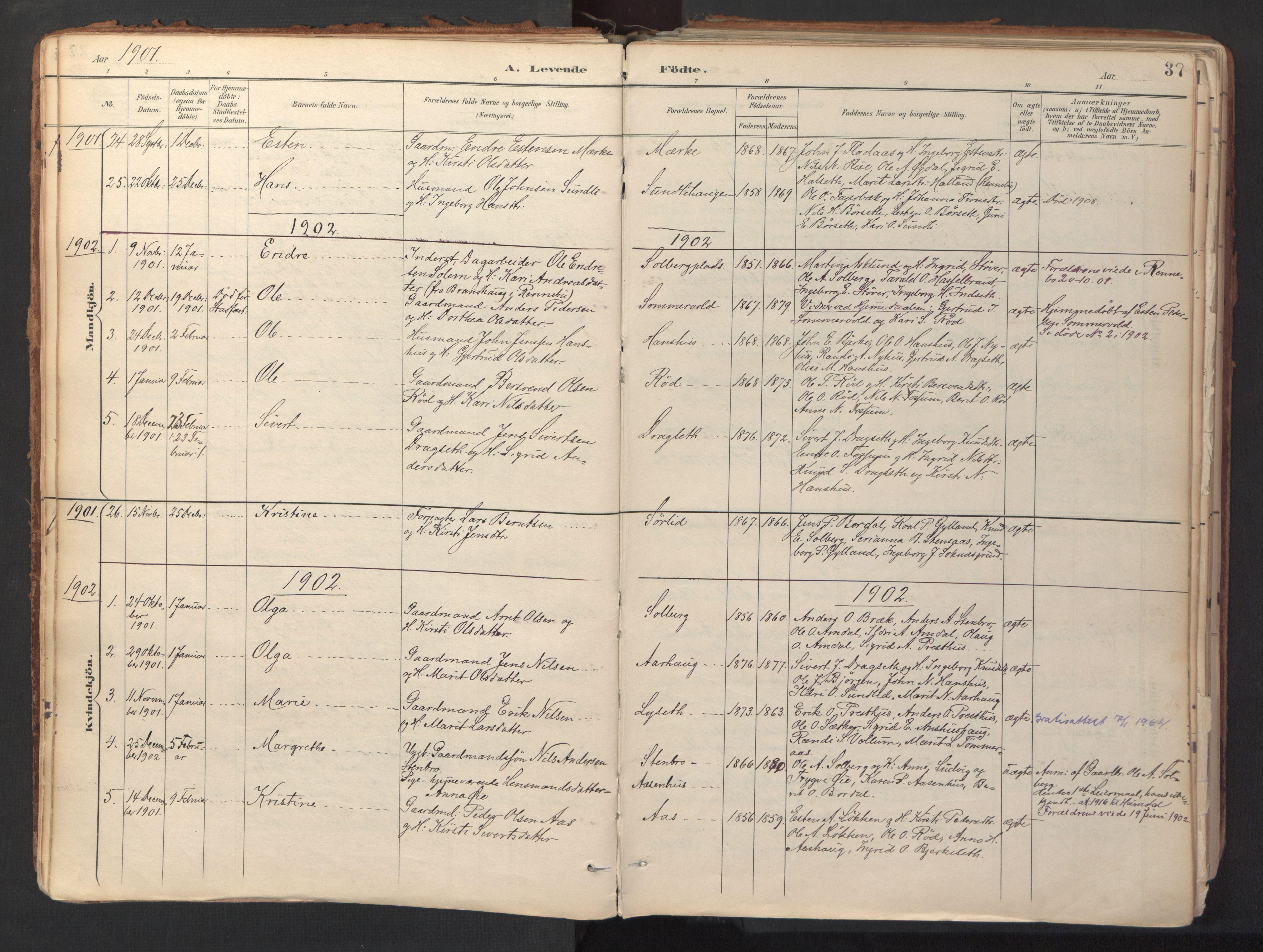 SAT, Ministerialprotokoller, klokkerbøker og fødselsregistre - Sør-Trøndelag, 689/L1041: Ministerialbok nr. 689A06, 1891-1923, s. 37