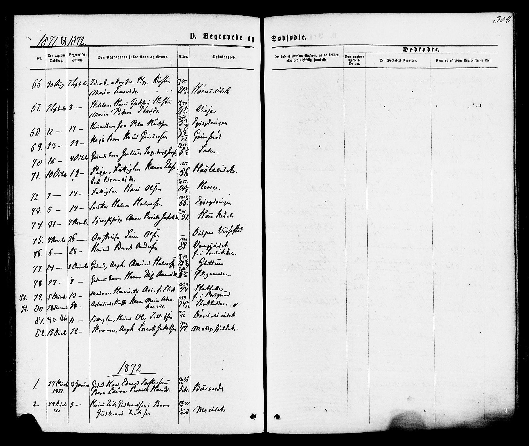 SAKO, Bamble kirkebøker, F/Fa/L0006: Ministerialbok nr. I 6, 1869-1877, s. 308