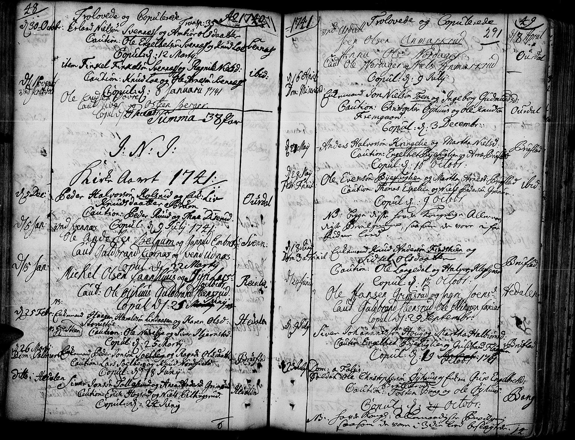 SAH, Aurdal prestekontor, Ministerialbok nr. 4, 1730-1762, s. 48-49
