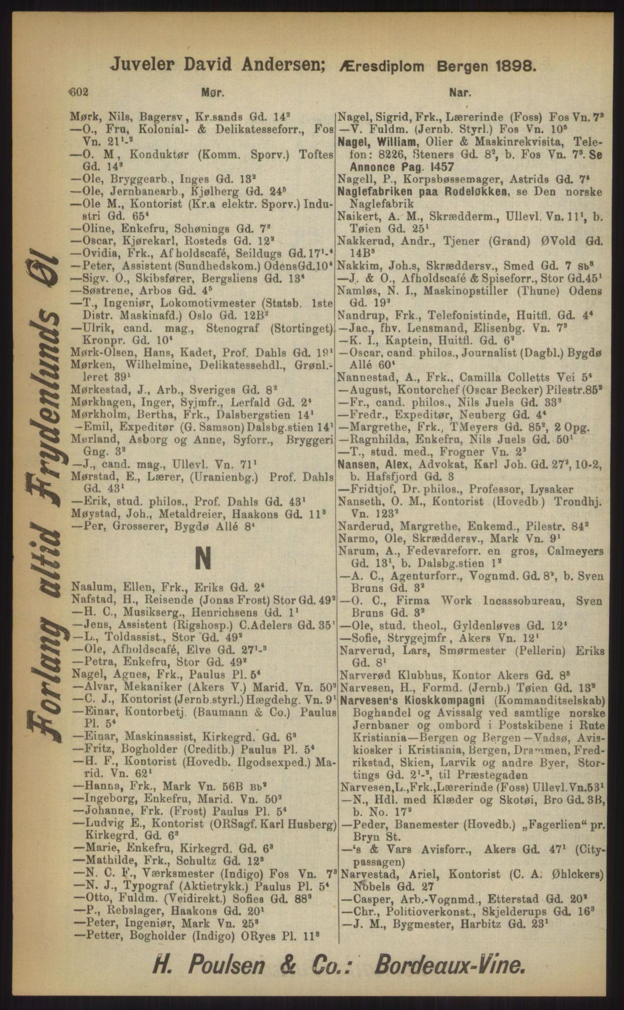 RA, Kristiania adressebok (publikasjon)*, 1903, s. 602