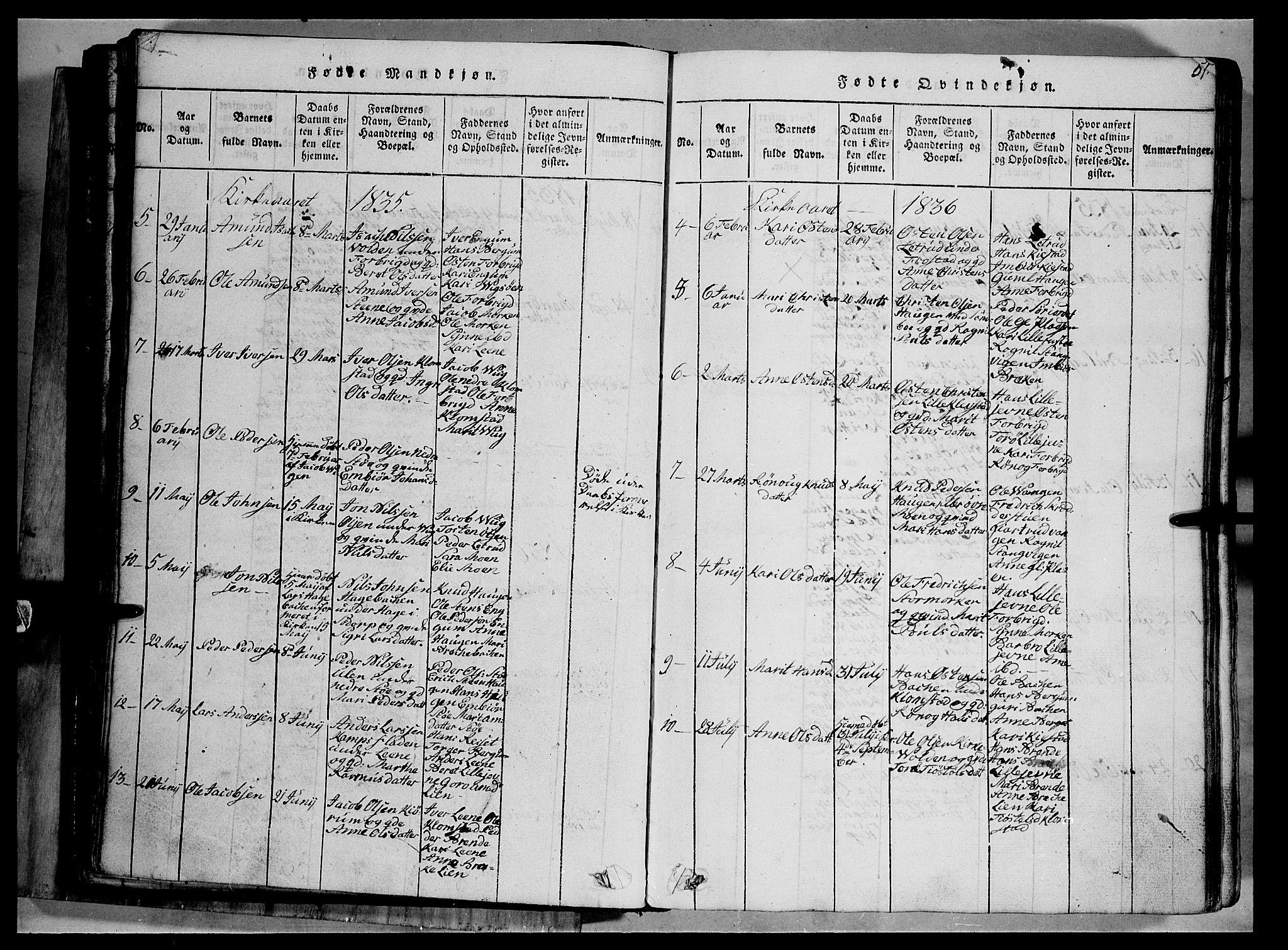 SAH, Fron prestekontor, H/Ha/Hab/L0002: Klokkerbok nr. 2, 1816-1850, s. 51