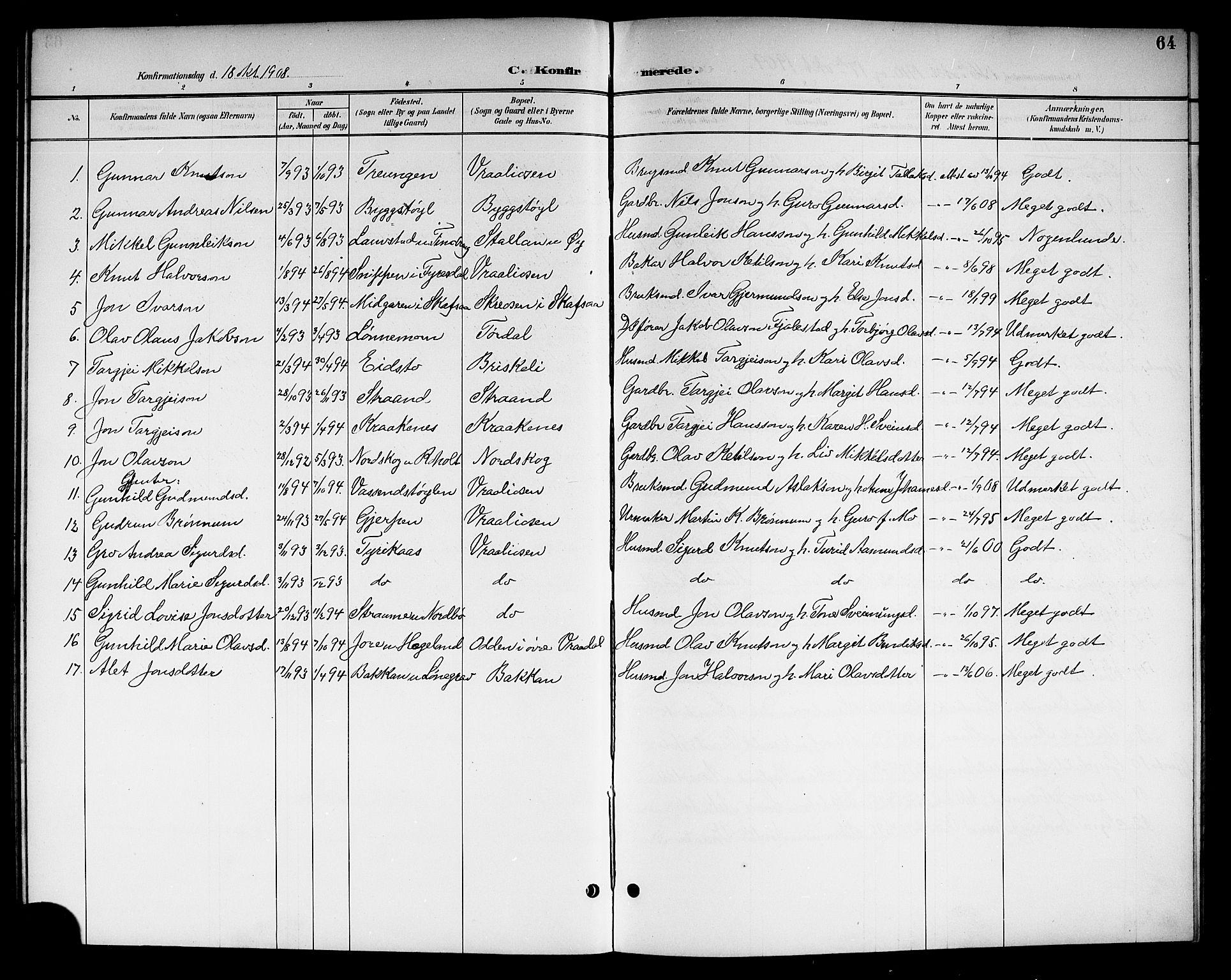 SAKO, Kviteseid kirkebøker, G/Gc/L0001: Klokkerbok nr. III 1, 1893-1916, s. 64
