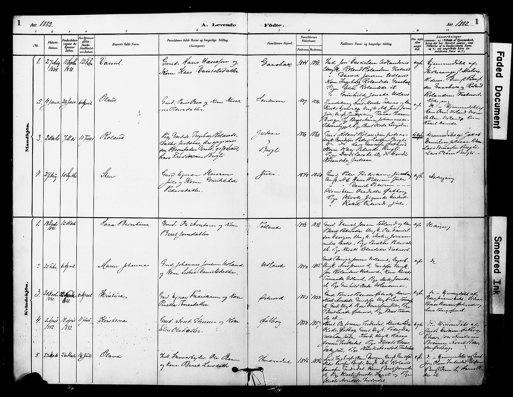 SAT, Ministerialprotokoller, klokkerbøker og fødselsregistre - Nord-Trøndelag, 757/L0505: Ministerialbok nr. 757A01, 1882-1904, s. 1