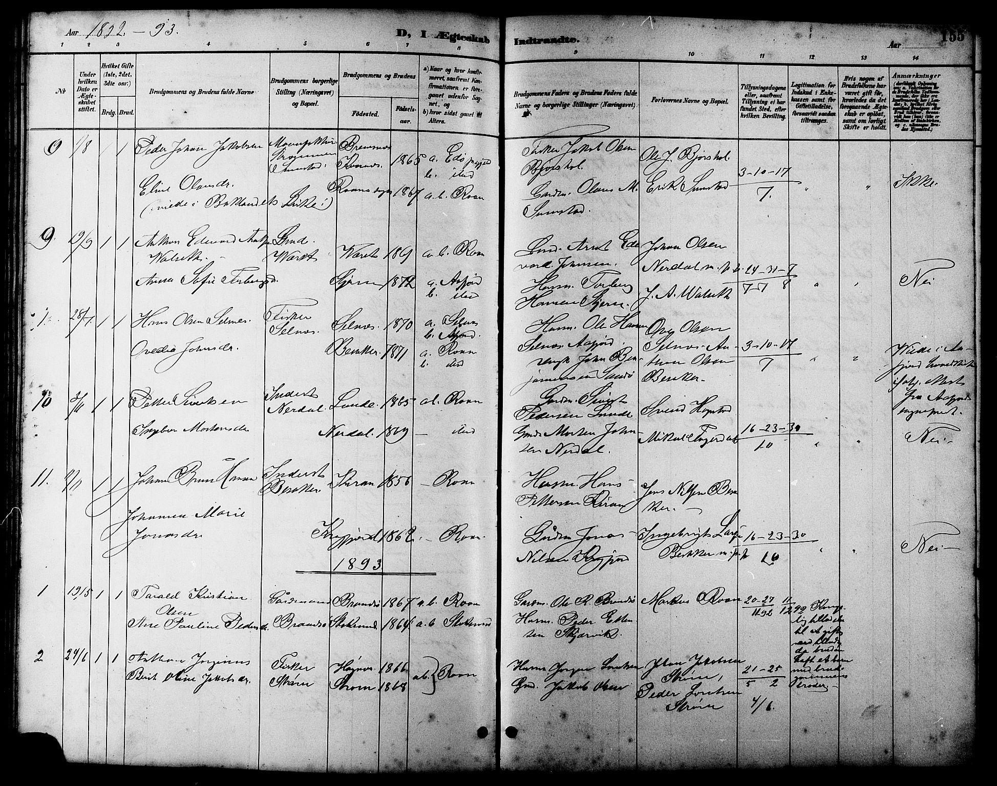 SAT, Ministerialprotokoller, klokkerbøker og fødselsregistre - Sør-Trøndelag, 657/L0716: Klokkerbok nr. 657C03, 1889-1904, s. 155