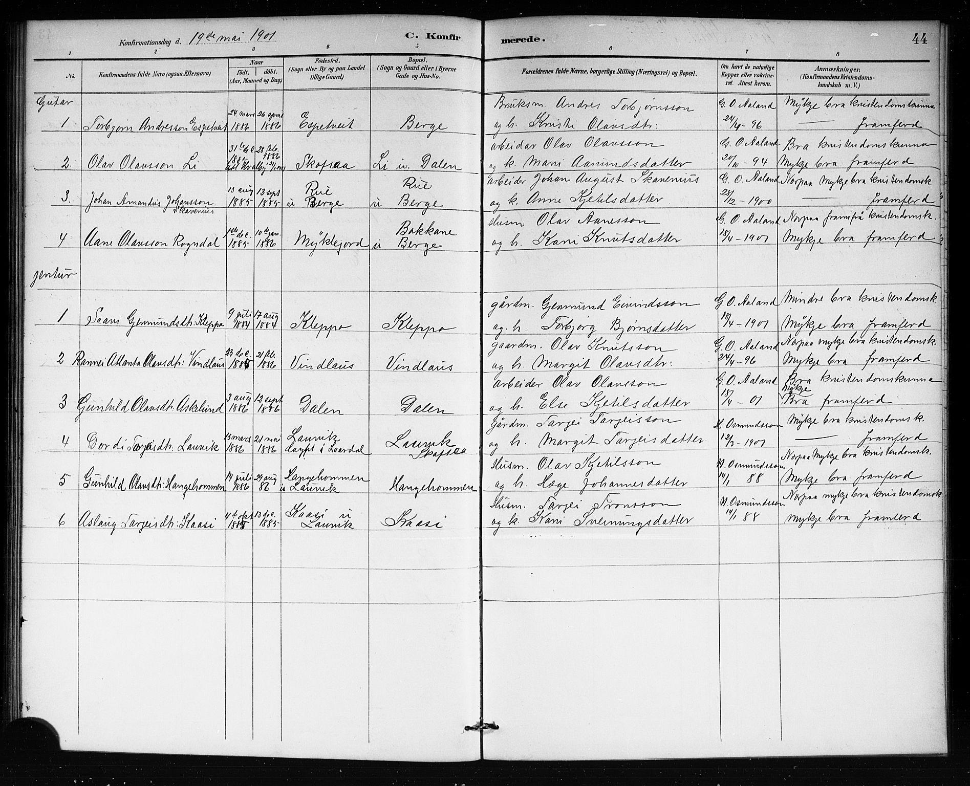 SAKO, Lårdal kirkebøker, G/Gb/L0003: Klokkerbok nr. II 3, 1889-1920, s. 44